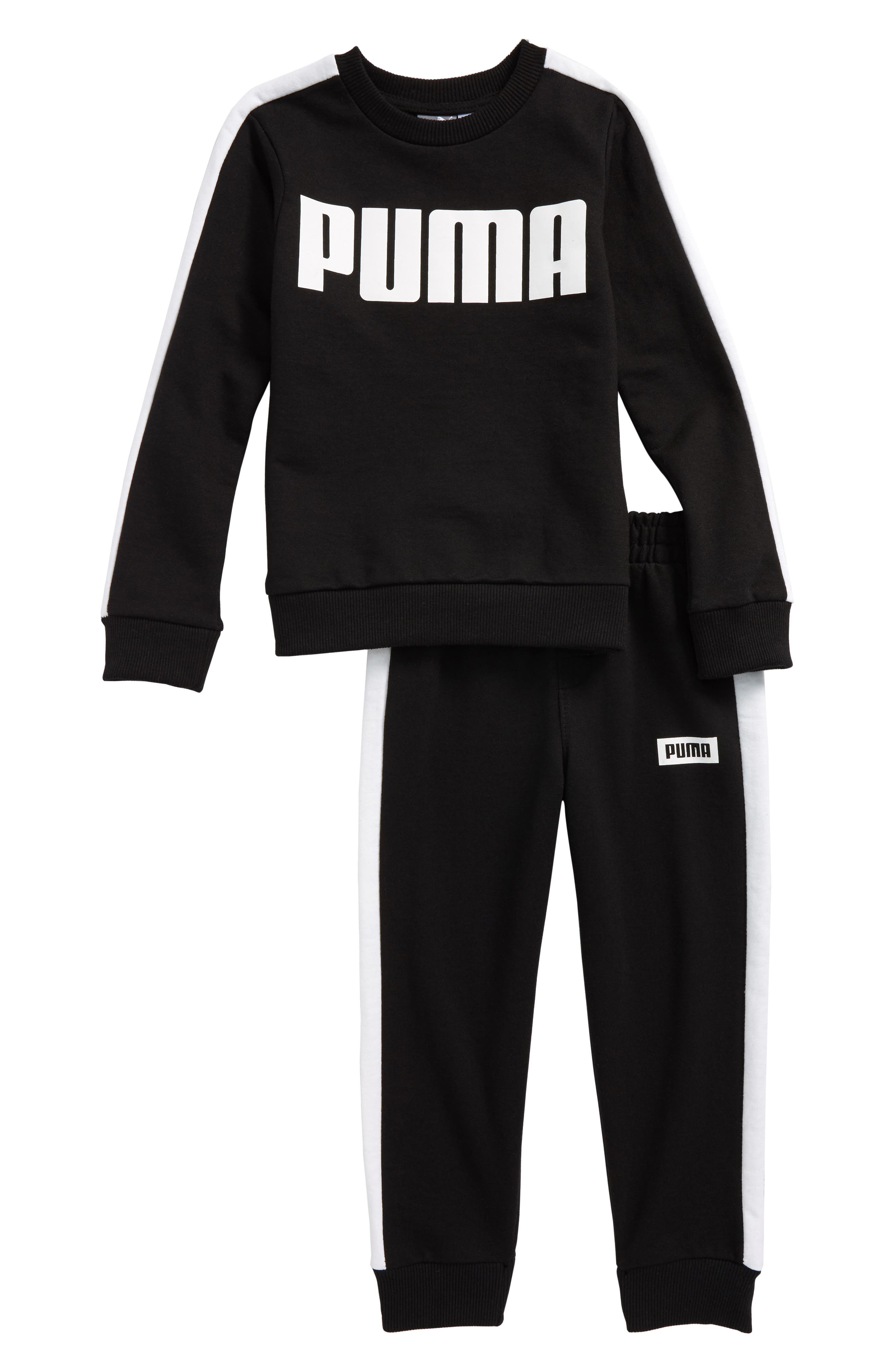 Main Image - PUMA Rebel Logo Sweatshirt & Sweatpants Set (Toddler Boys & Little Boys)