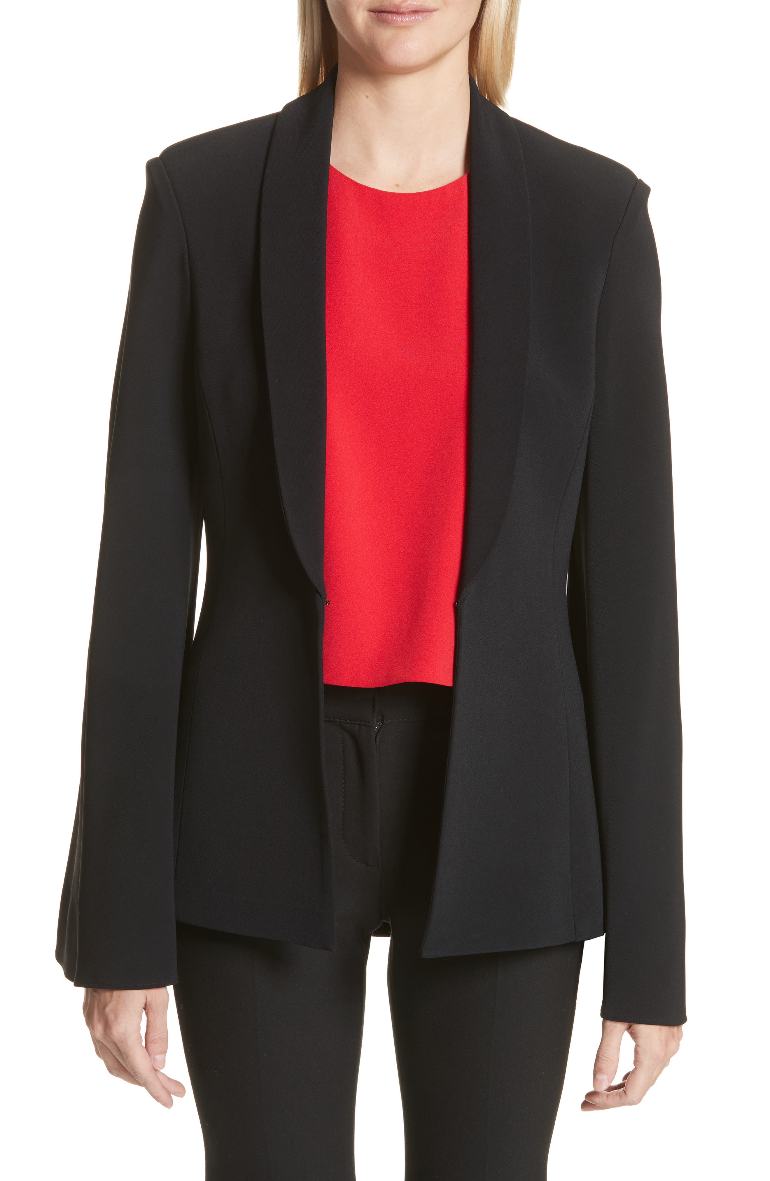 Brandon Maxwell Crepe Flare Sleeve Tuxedo Jacket