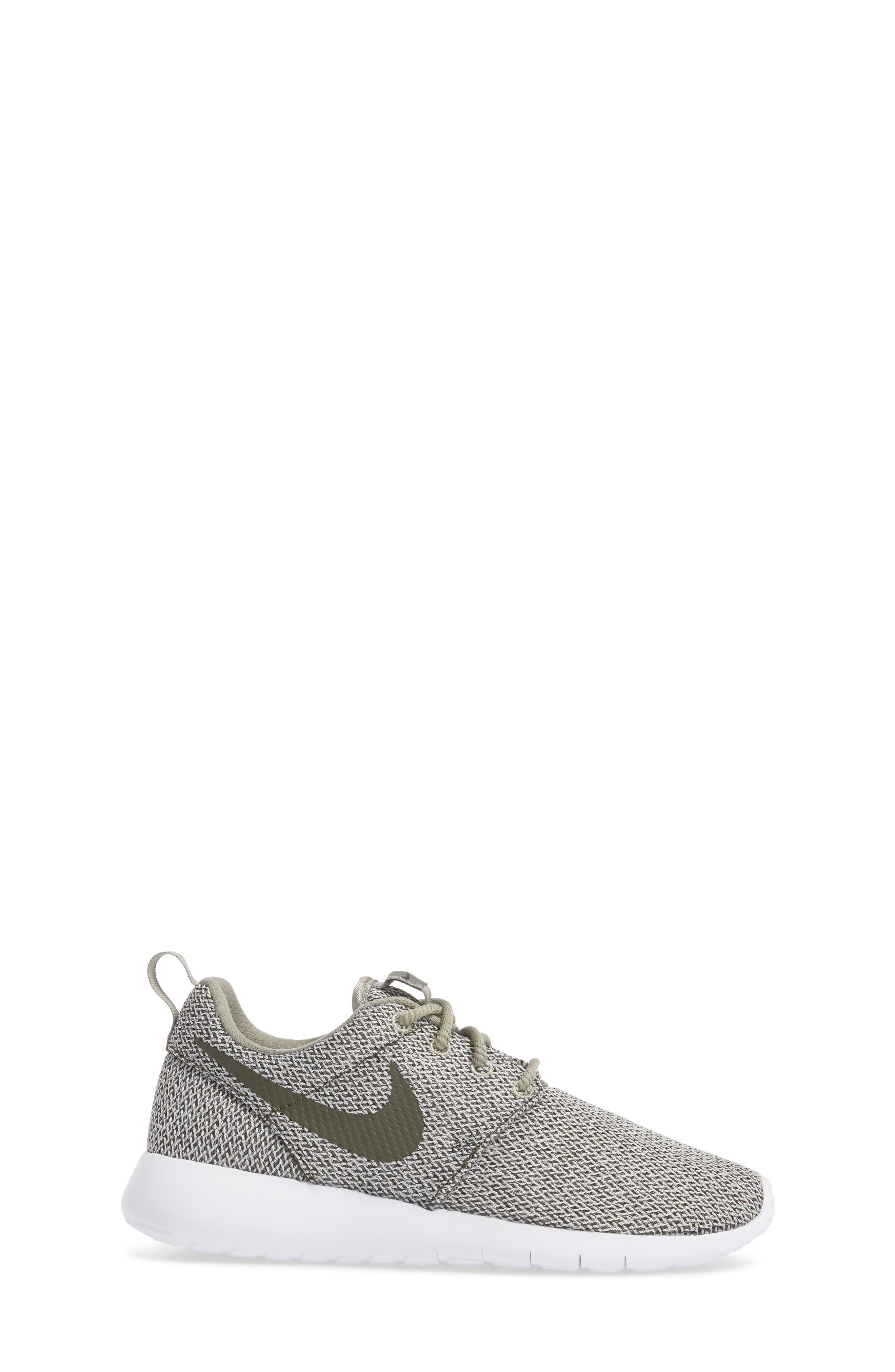 'Roshe Run' Sneaker,                             Alternate thumbnail 3, color,                             Dark Stucco/ Sequoia/ Bone