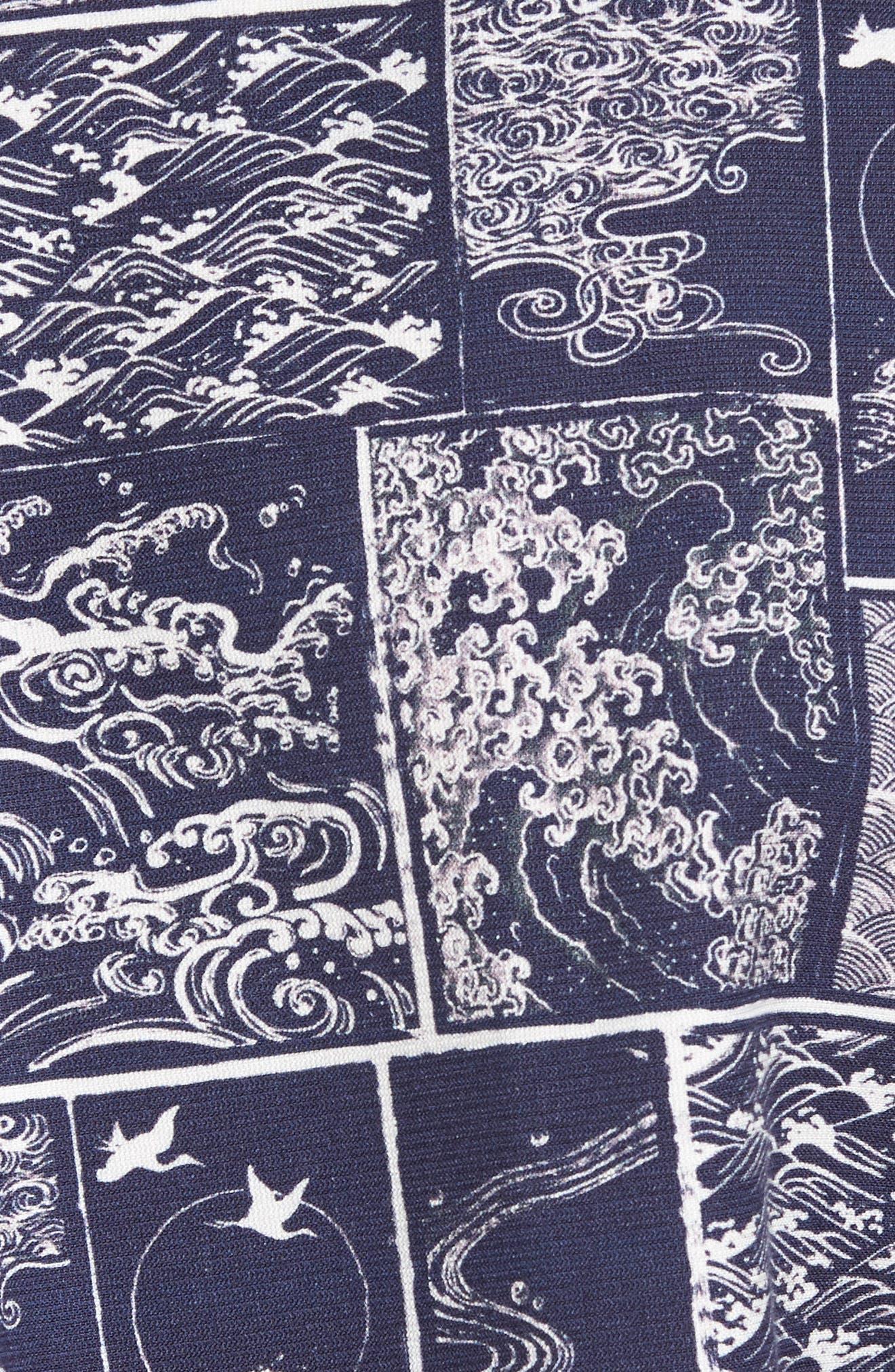 Wave Print Sport Shirt,                             Alternate thumbnail 5, color,                             Navy/ White