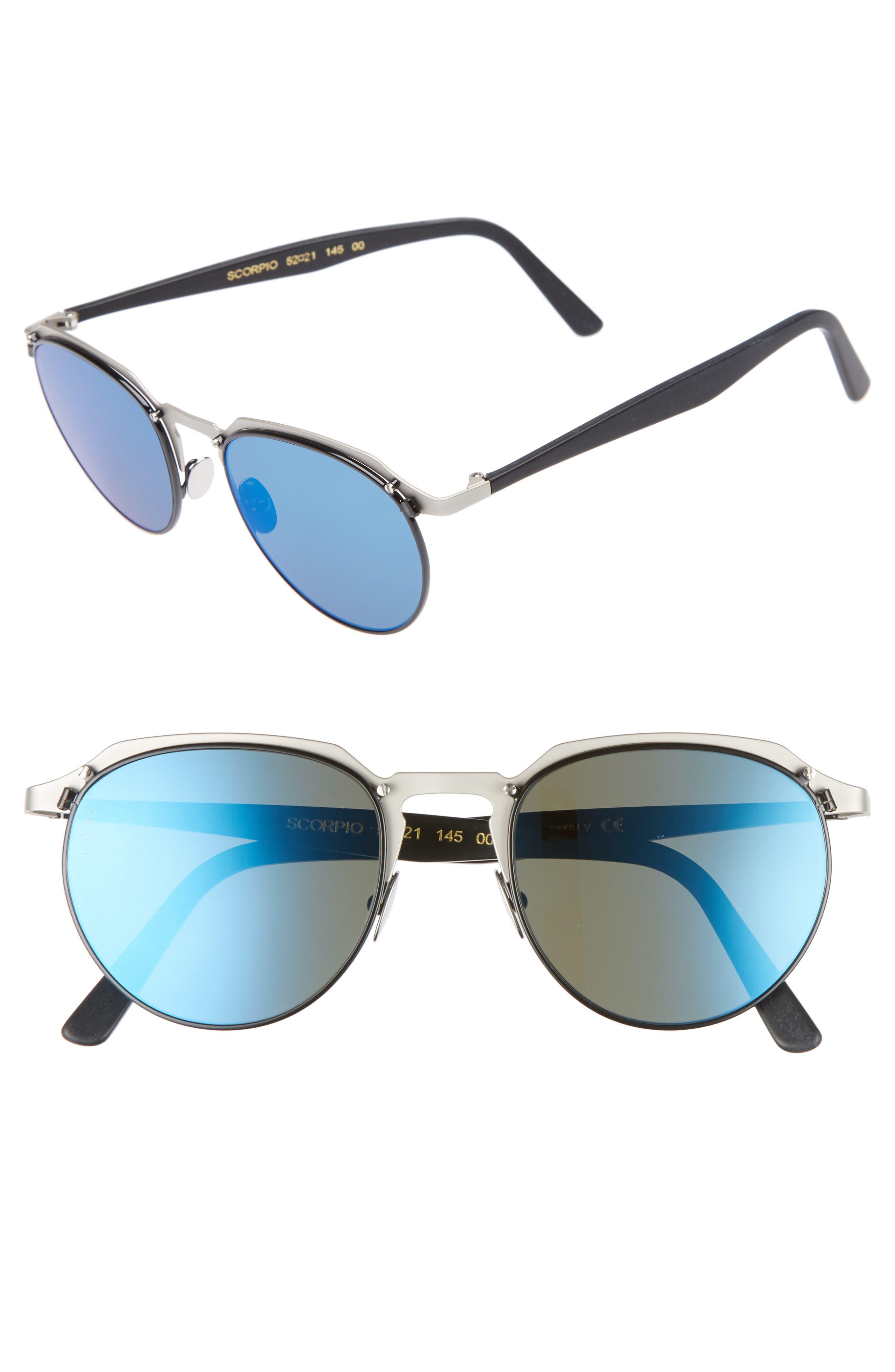 Scorpio 52mm Polarized Sunglasses,                         Main,                         color, Matte Grey/ Blue Mirror