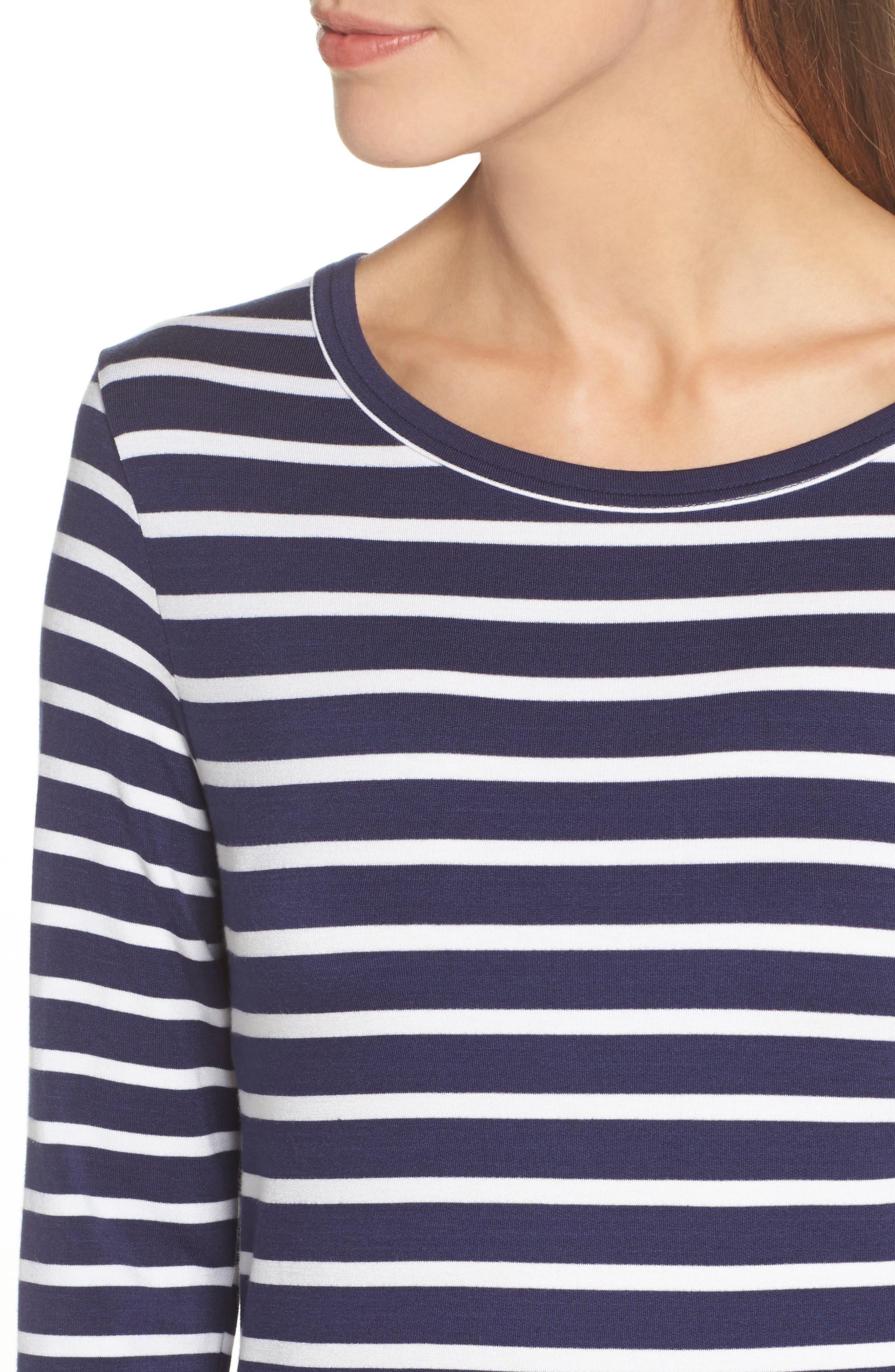 Adelene Stripe Knit Shift Dress,                             Alternate thumbnail 4, color,                             Navy