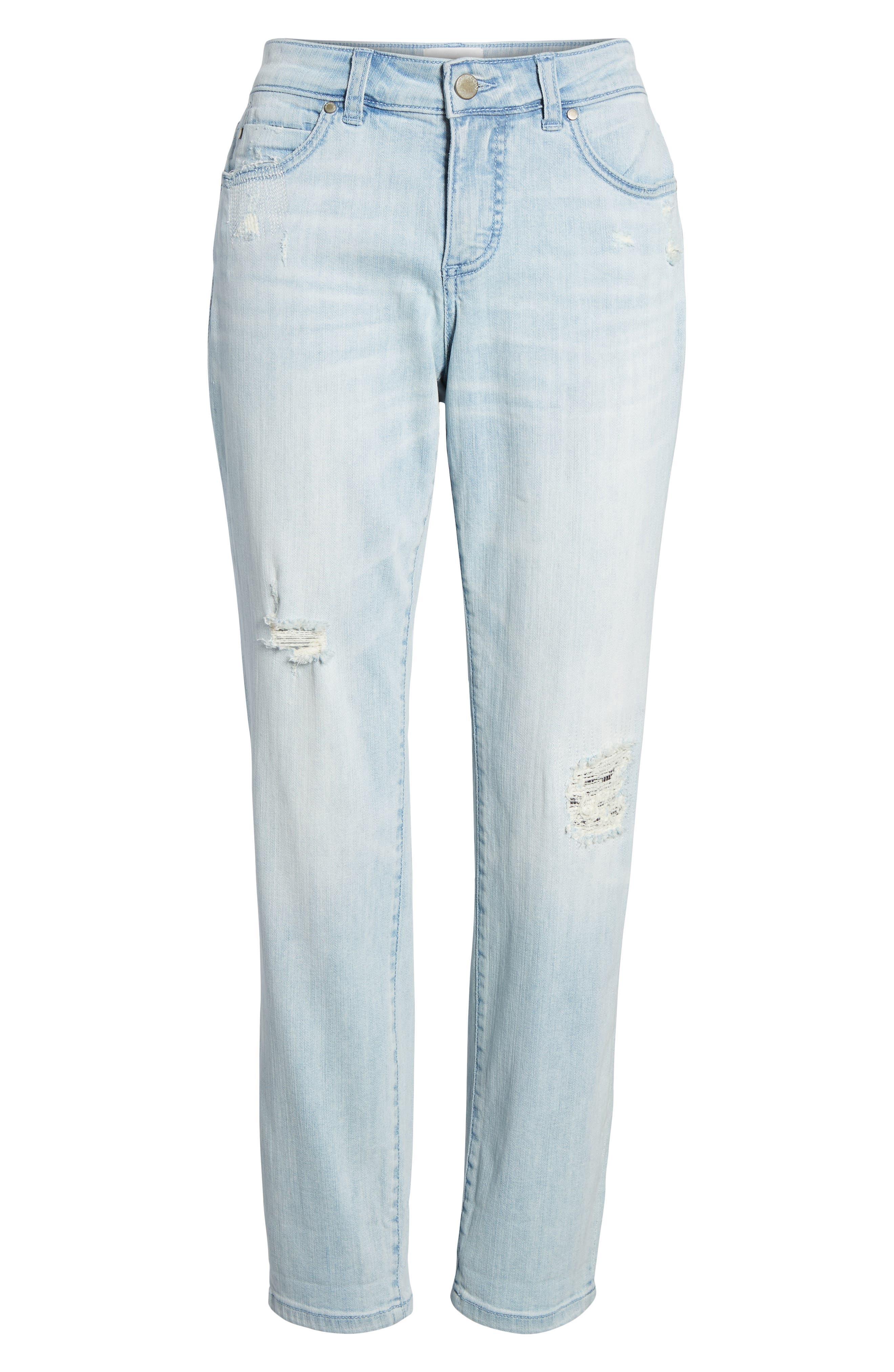 Distressed Boyfriend Jeans,                             Alternate thumbnail 7, color,                             Platinum Light Wash