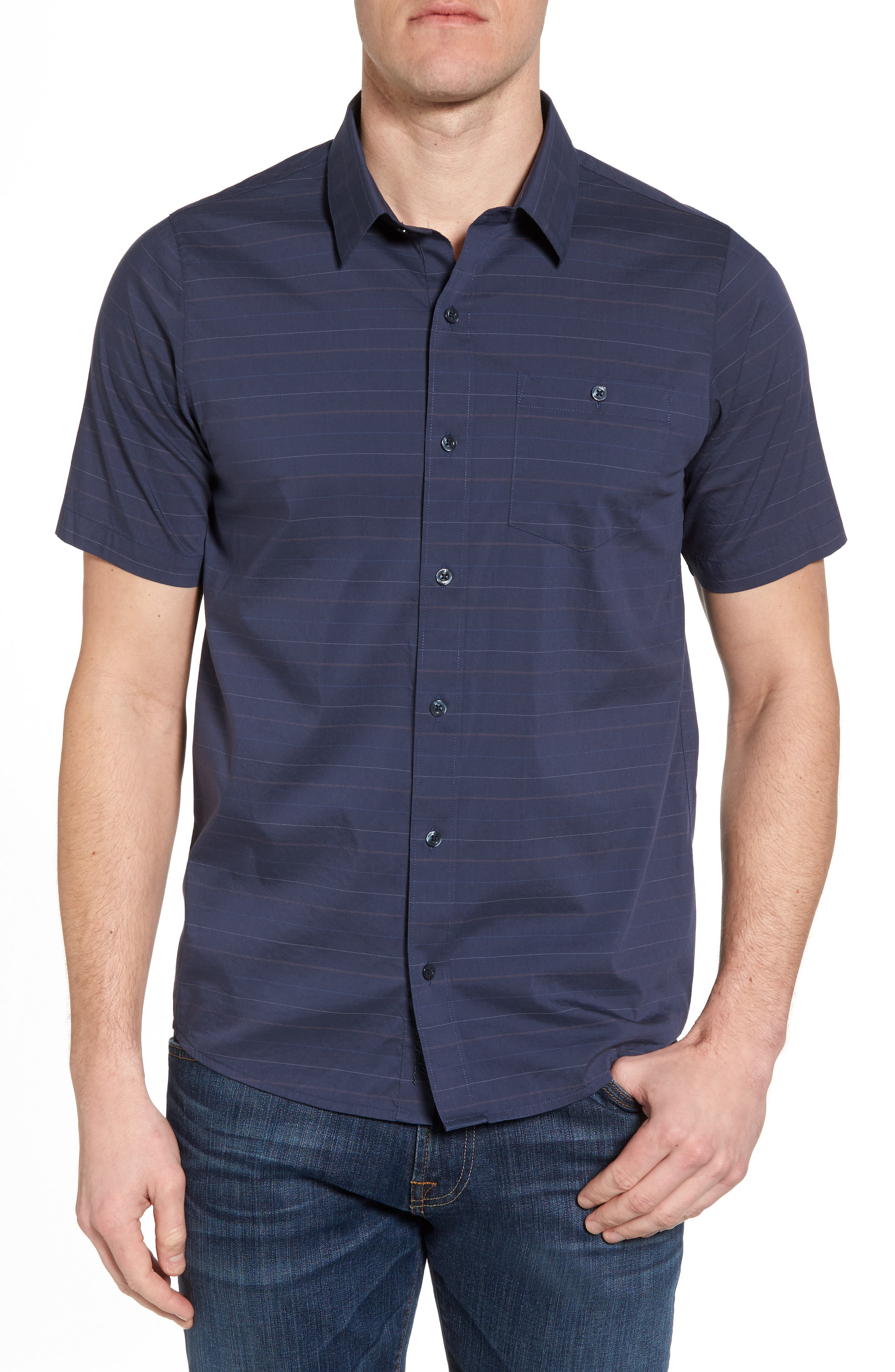 Main Image - Travis Mathew Linear Slim Fit Sport Shirt