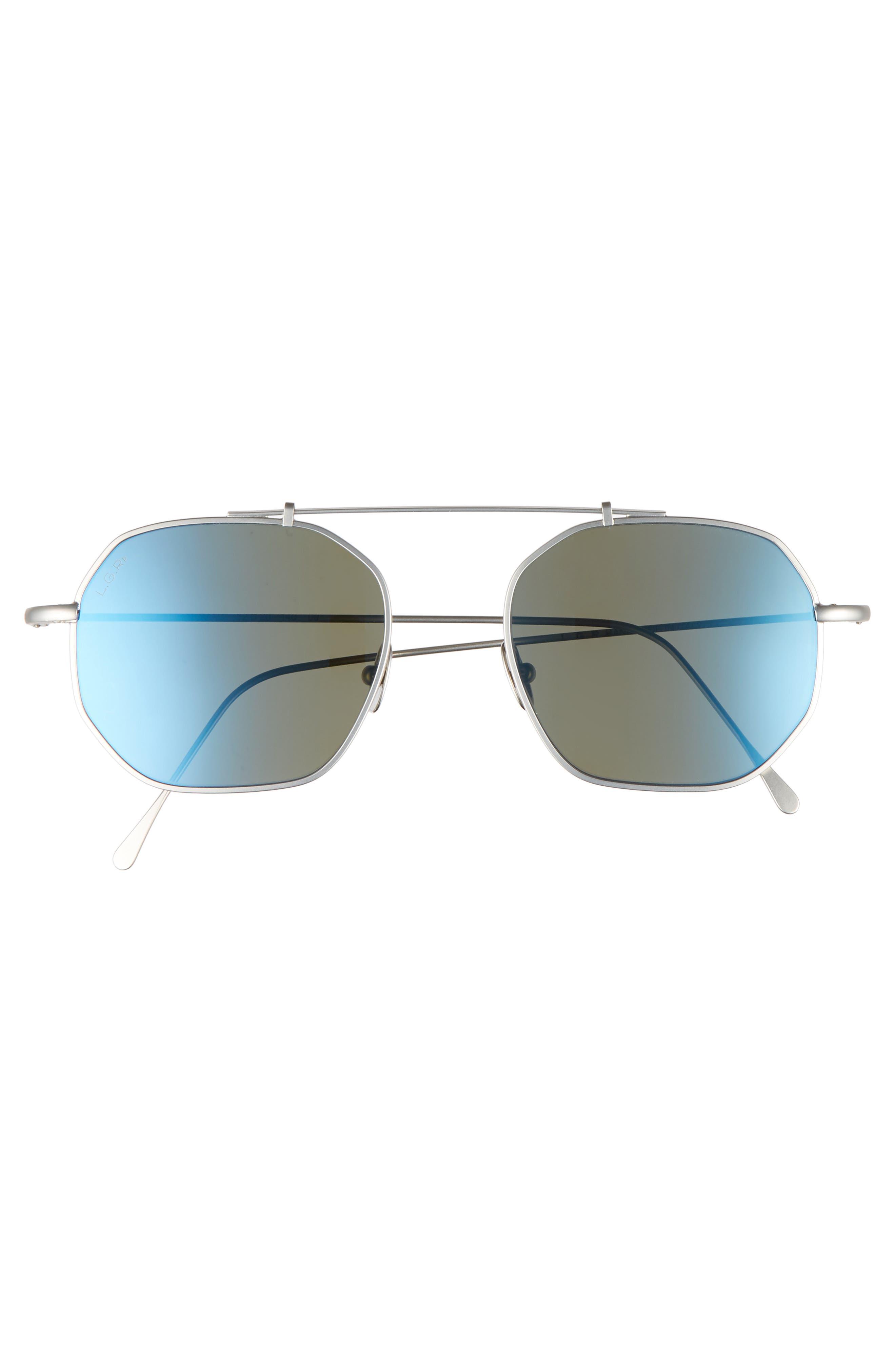 Nomad 52mm Polarized Sunglasses,                             Alternate thumbnail 2, color,                             Silver Matte/ Blue Mirror