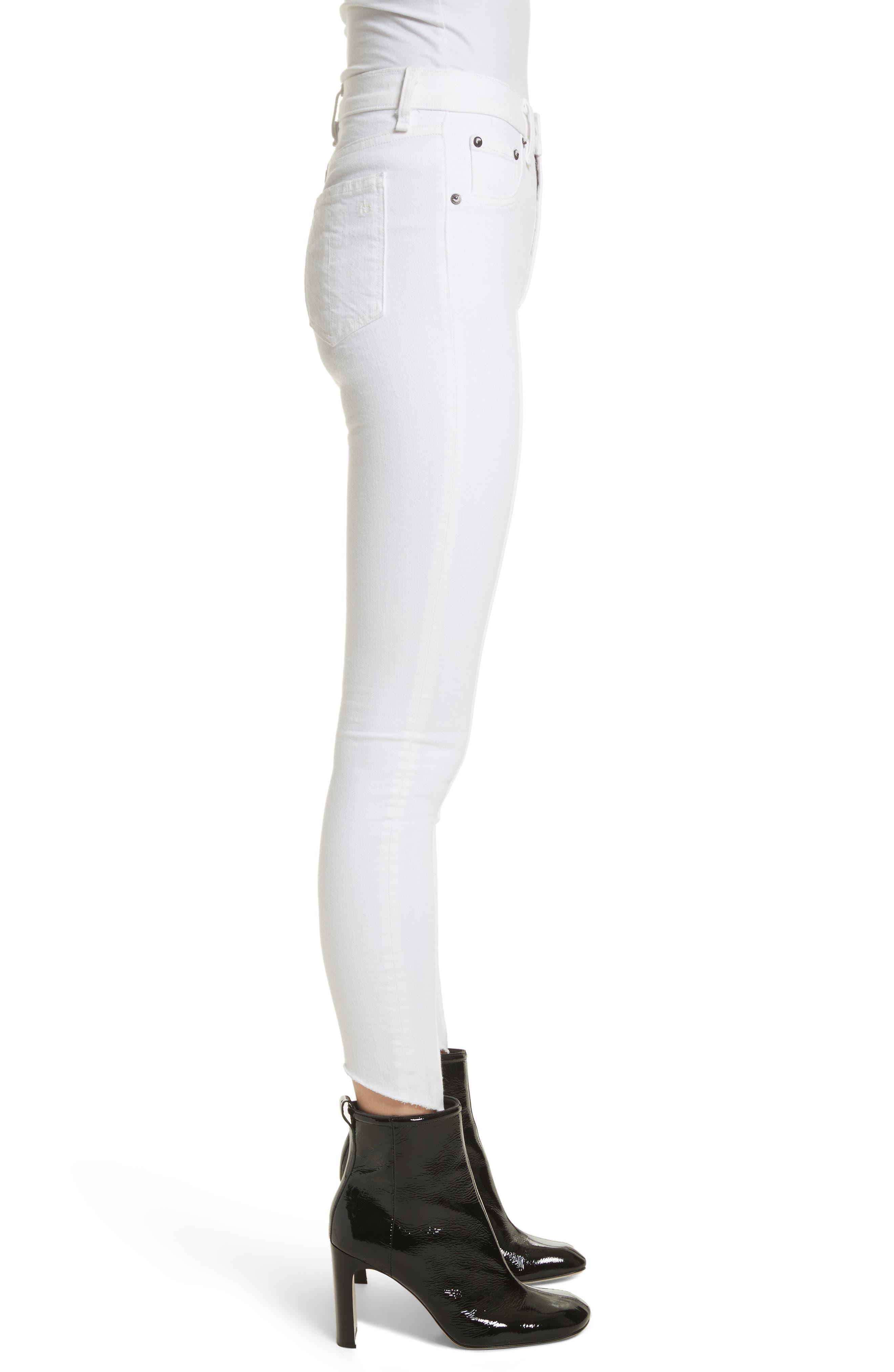High Waist Ankle Skinny Jeans,                             Alternate thumbnail 3, color,                             White Manson