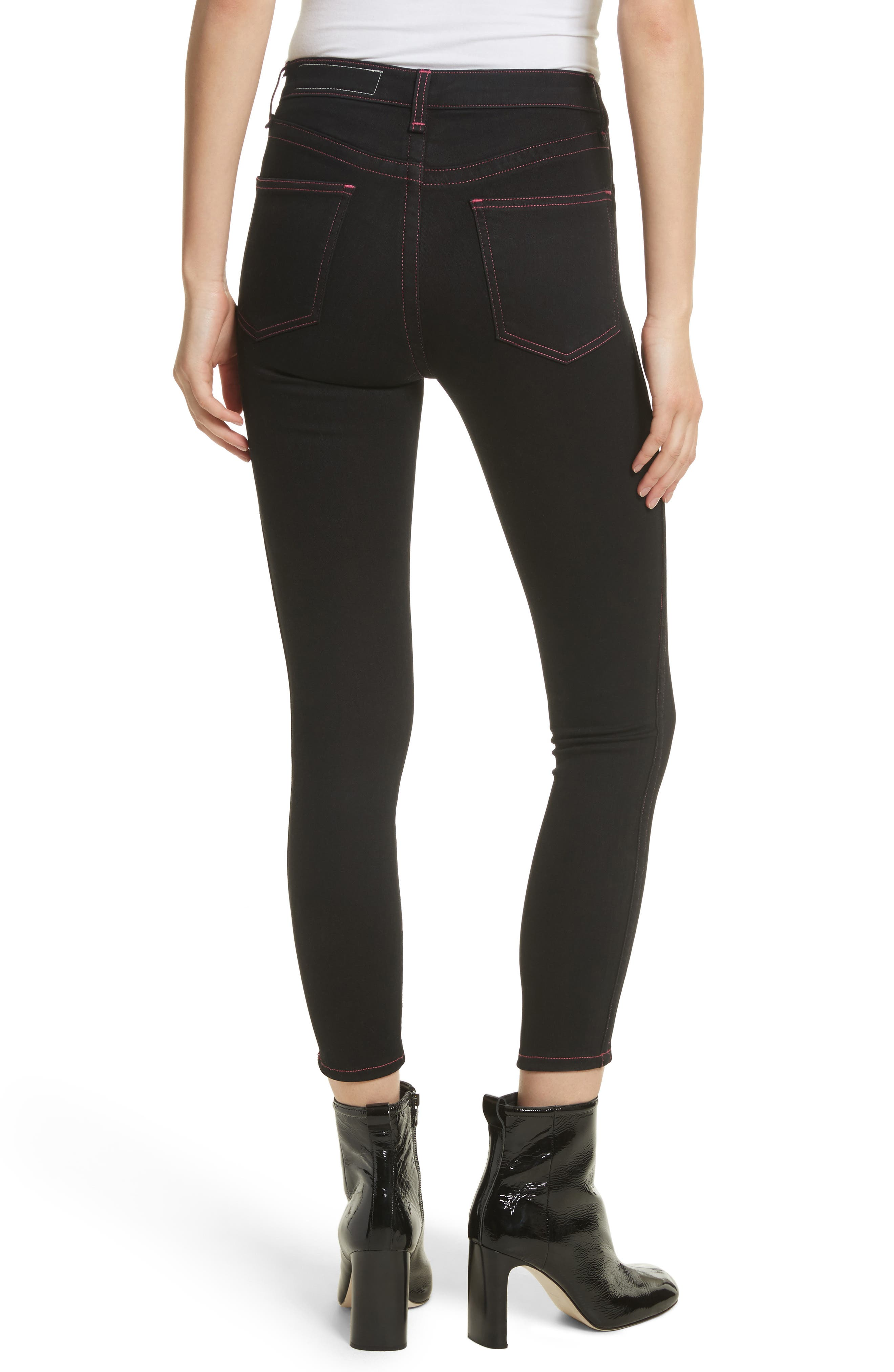 Miich High Rise Crop Skinny Jeans,                             Alternate thumbnail 2, color,                             Black Stitch