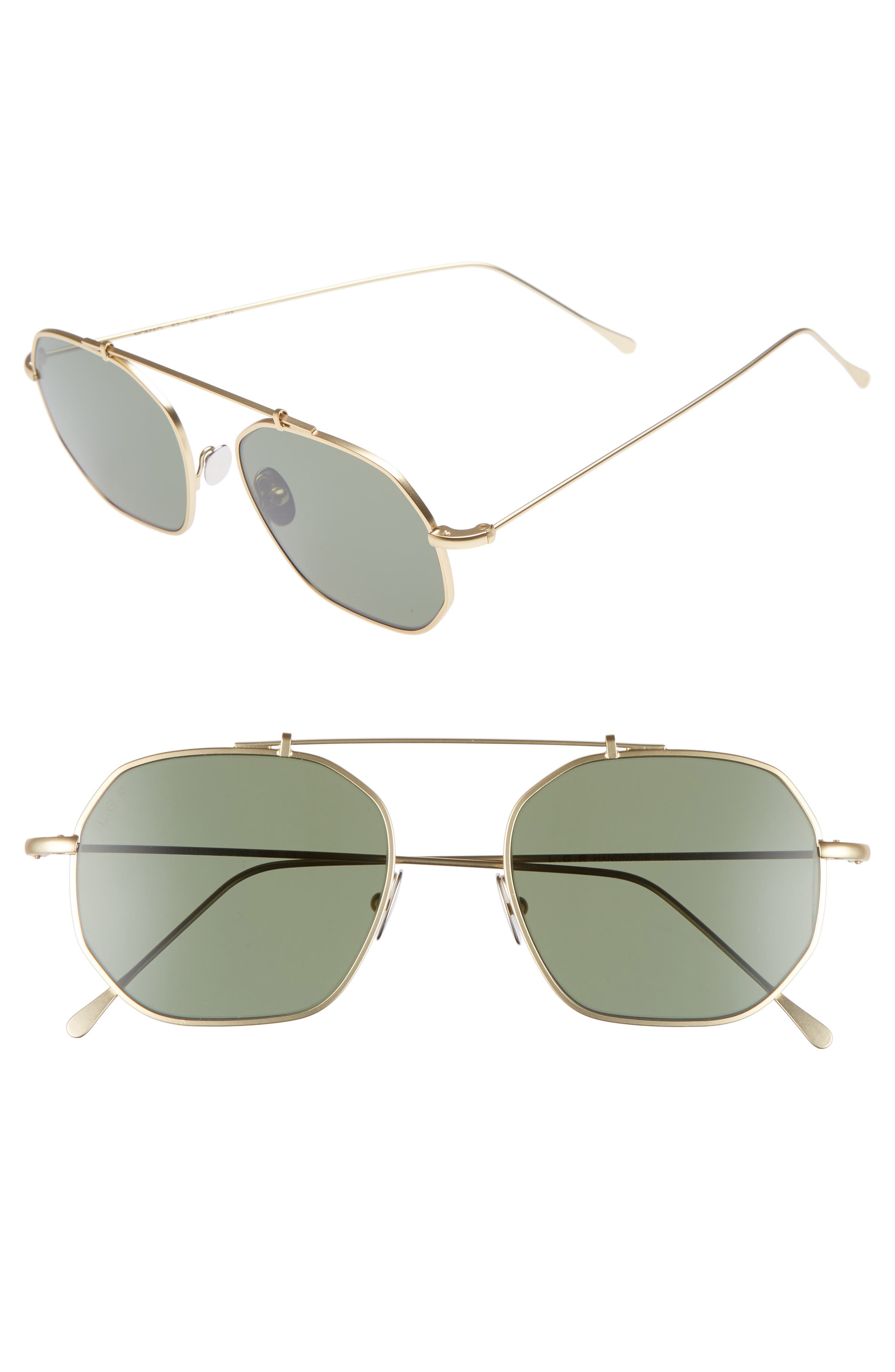 Nomad 52mm Sunglasses,                             Main thumbnail 1, color,                             Gold Matte/ Green