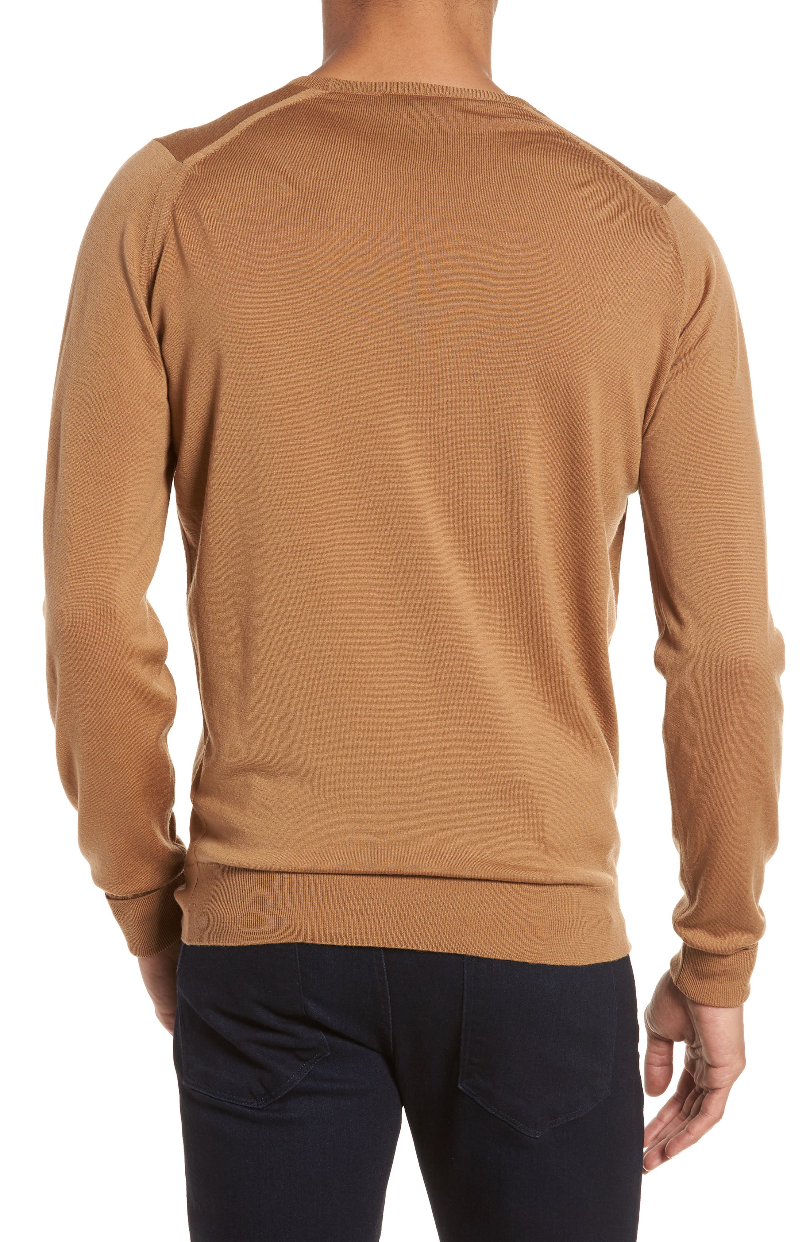 'Marcus' Easy Fit Crewneck Wool Sweater,                             Alternate thumbnail 2, color,                             Camel