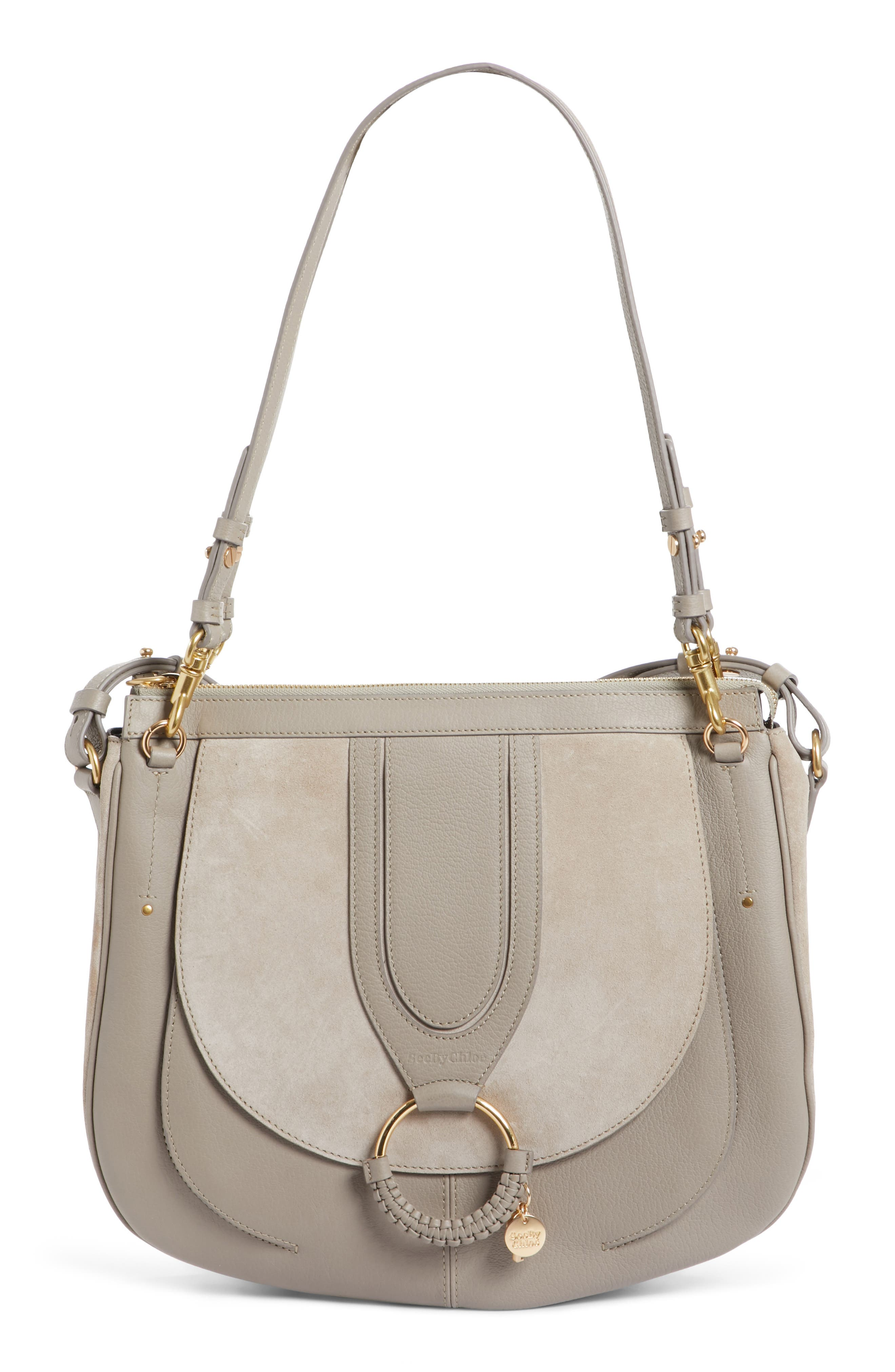 Hana Leather Shoulder Bag,                         Main,                         color, Motty Grey