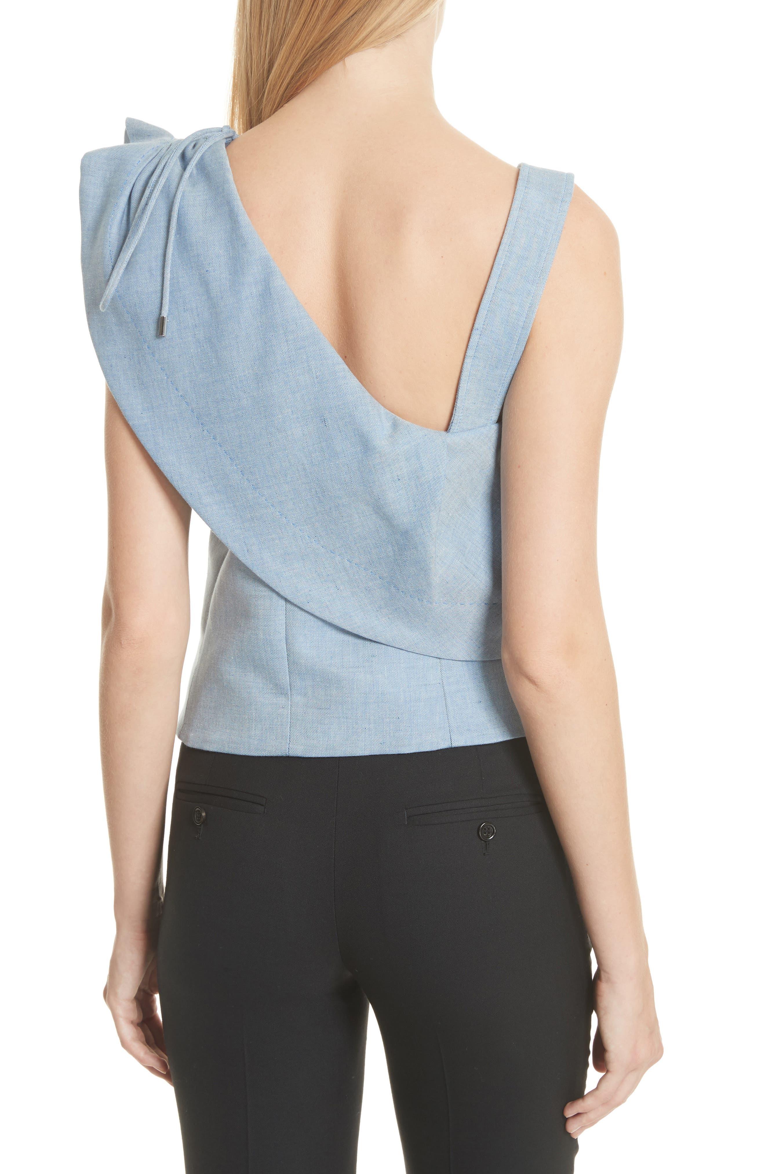 One-Shoulder Cotton & Linen Blend Top,                             Alternate thumbnail 2, color,                             Bleu Acier