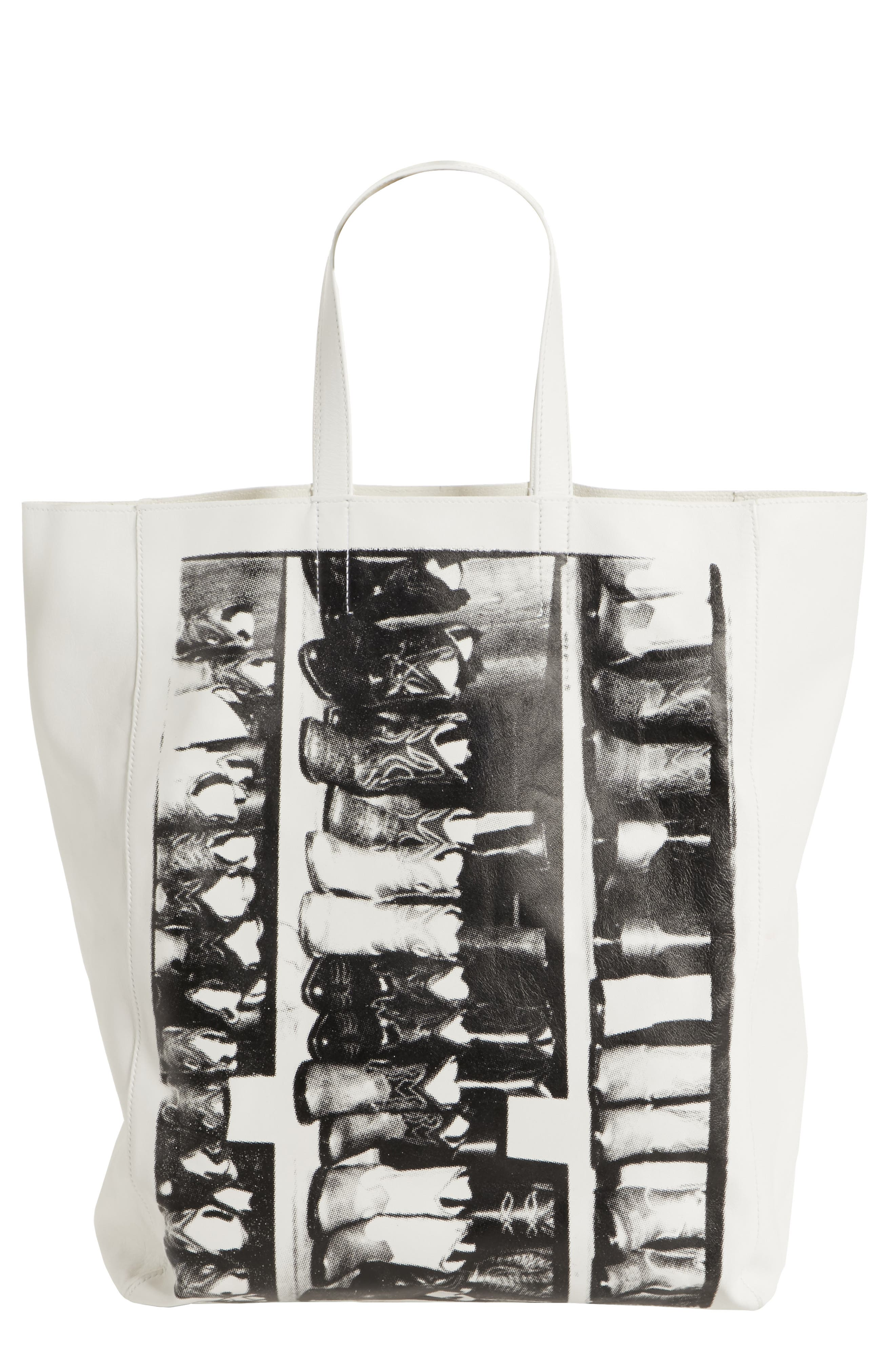 x Andy Warhol Foundation Boots Leather Tote,                             Main thumbnail 1, color,                             White/ Black
