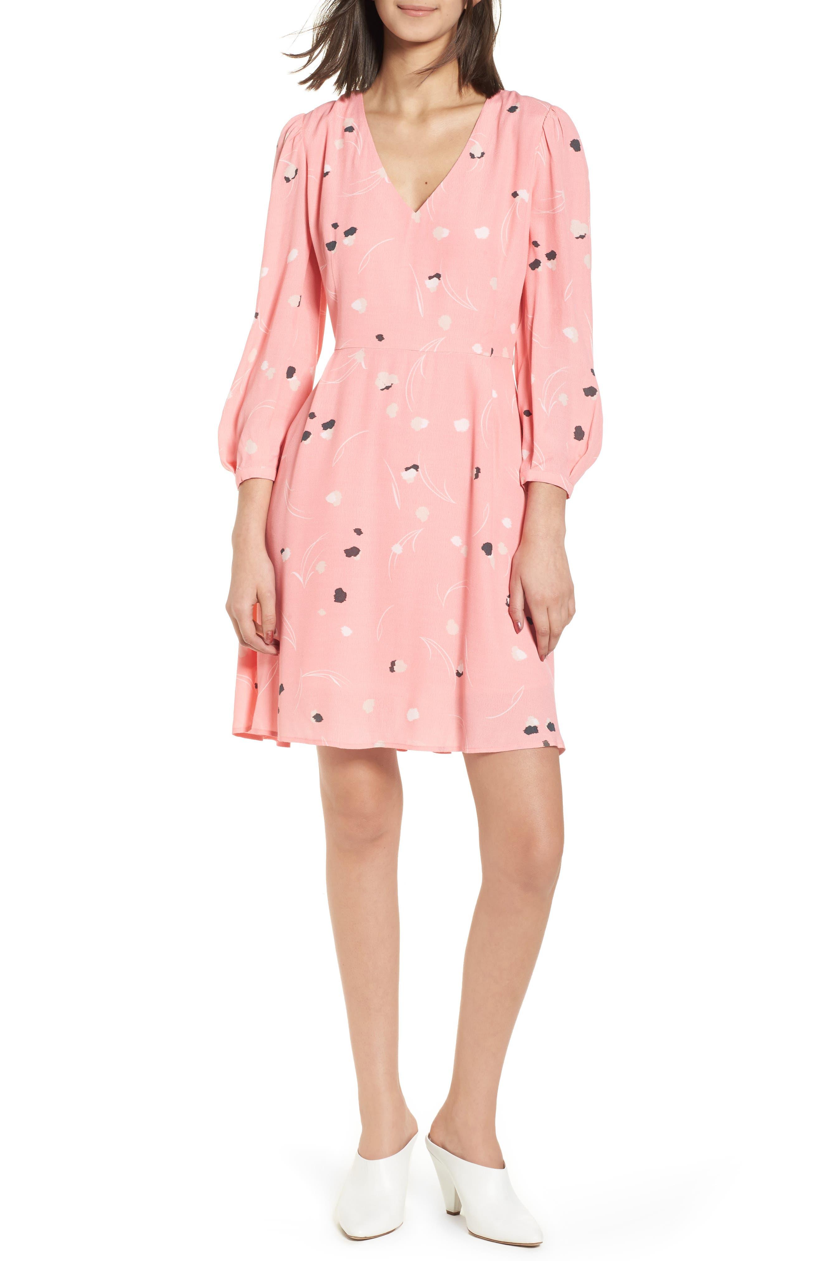 V-Neck Puff Sleeve Dress,                         Main,                         color, Pink Flamingo Mini Pops