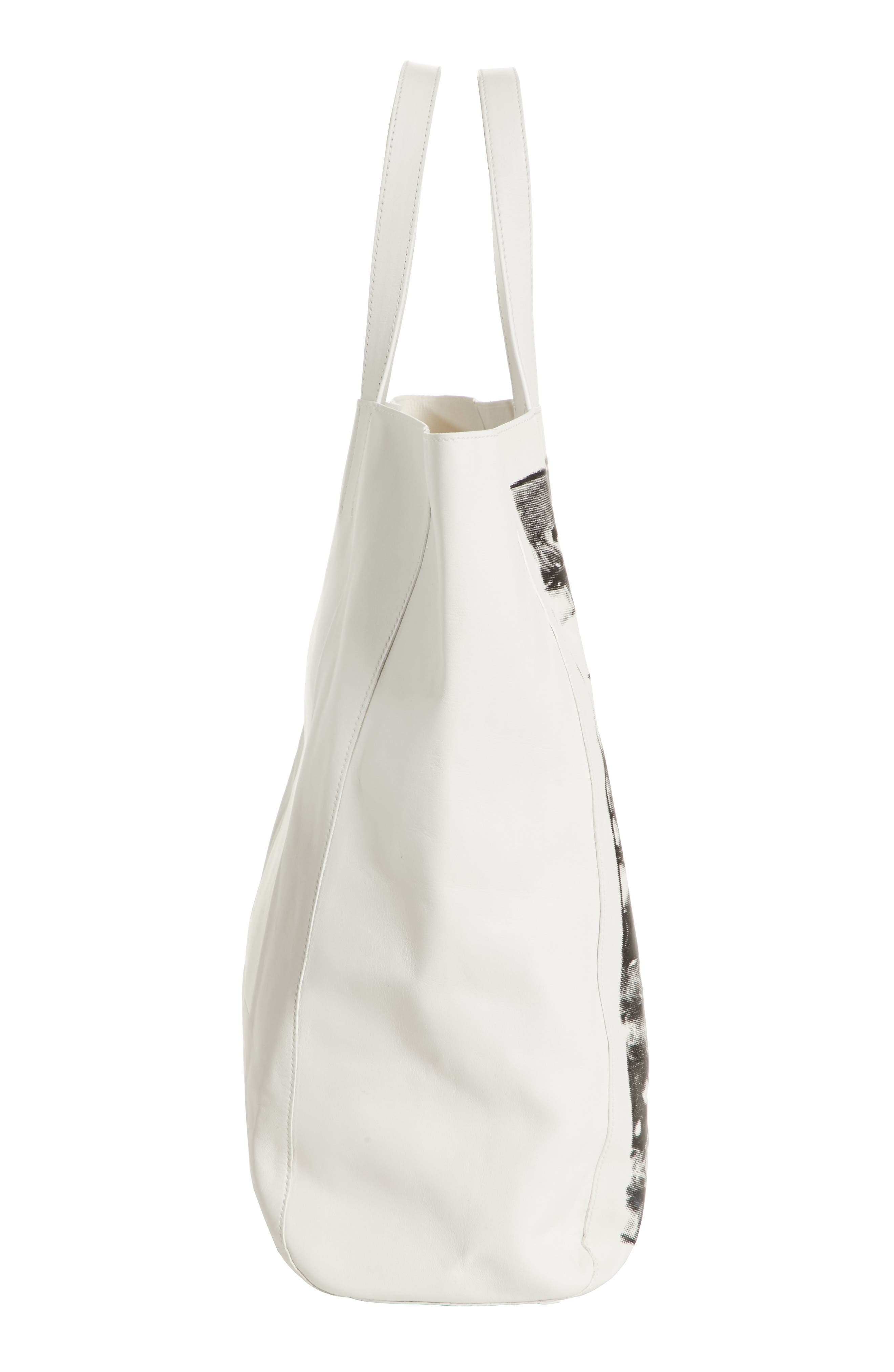 x Andy Warhol Foundation Boots Leather Tote,                             Alternate thumbnail 5, color,                             White/ Black