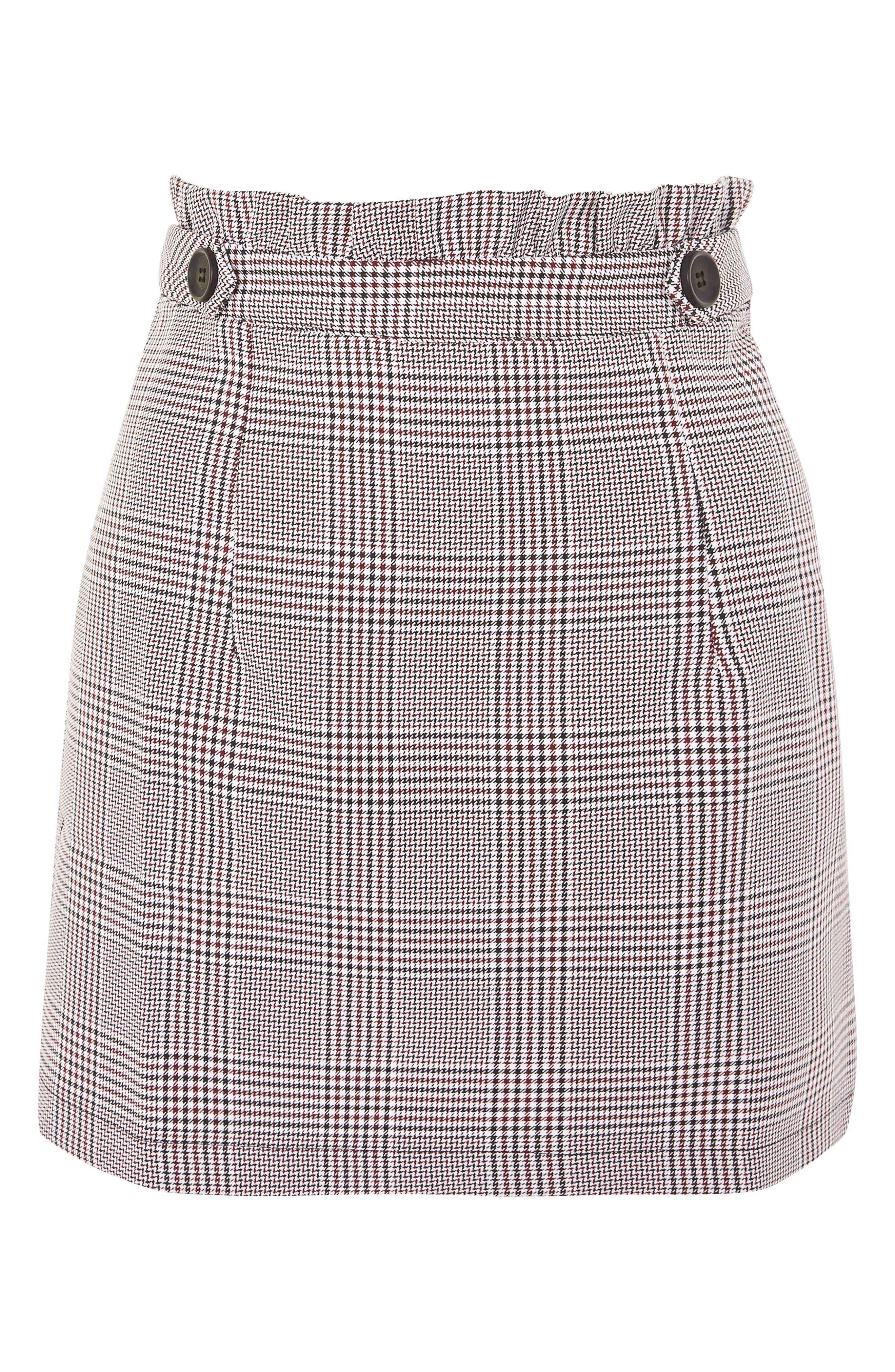 Frill Edge Heritage Check Skirt,                             Alternate thumbnail 4, color,                             Red Multi