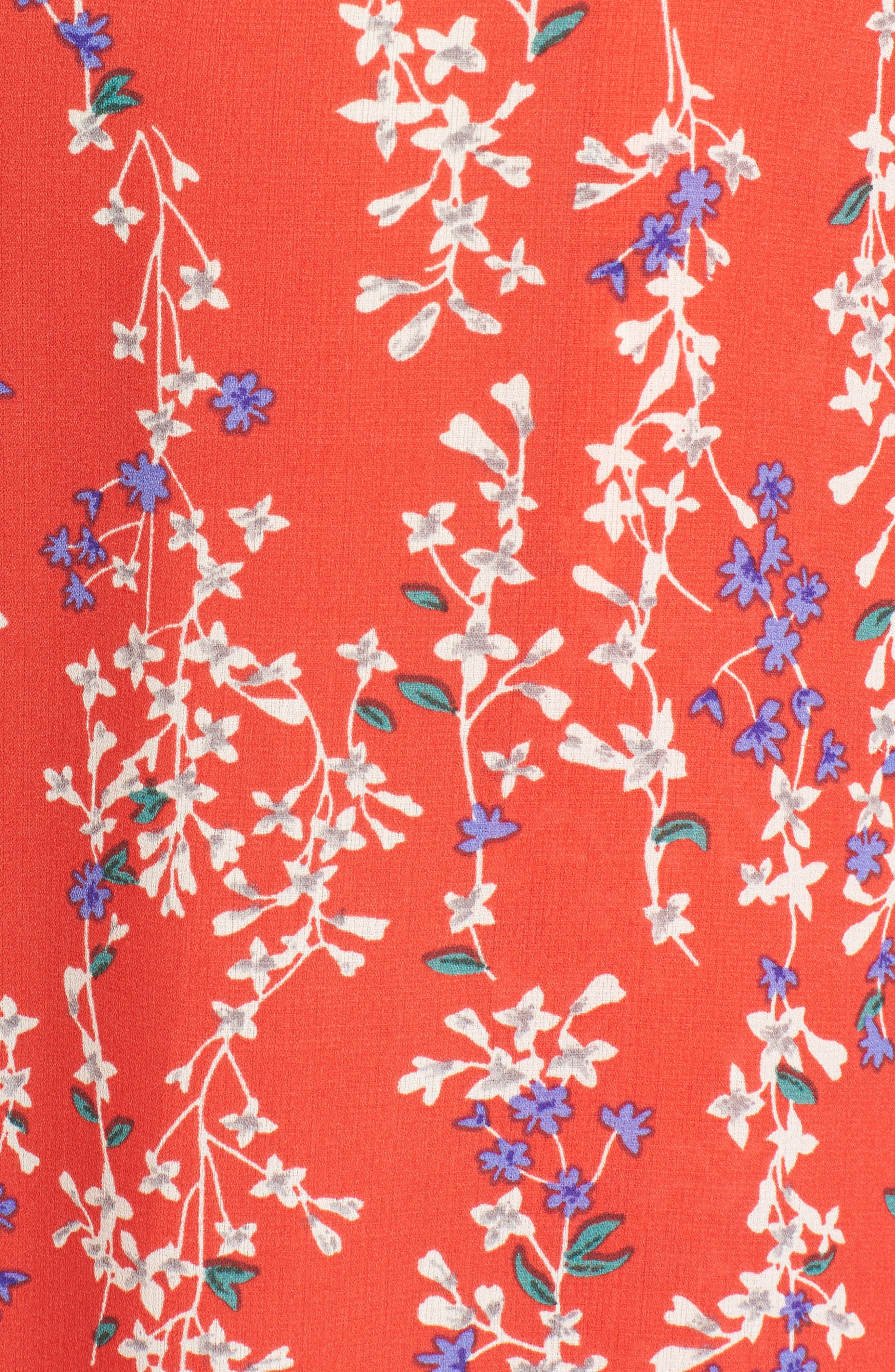 Floral Tie Front Split Hem Pants,                             Alternate thumbnail 7, color,                             Red Floral