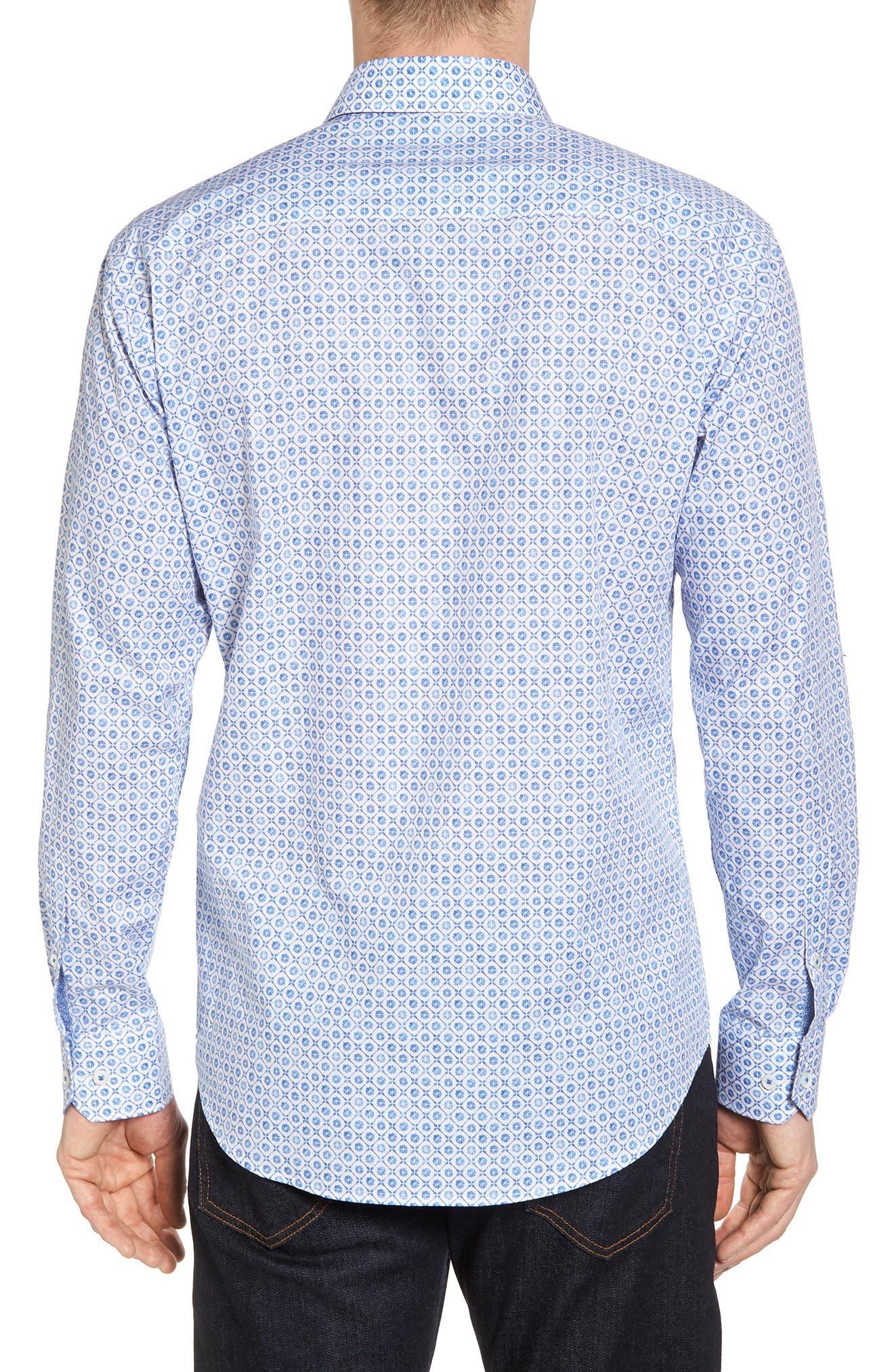 Shaped Fit Floral Medallion Print Sport Shirt,                             Alternate thumbnail 3, color,                             Classic Blue