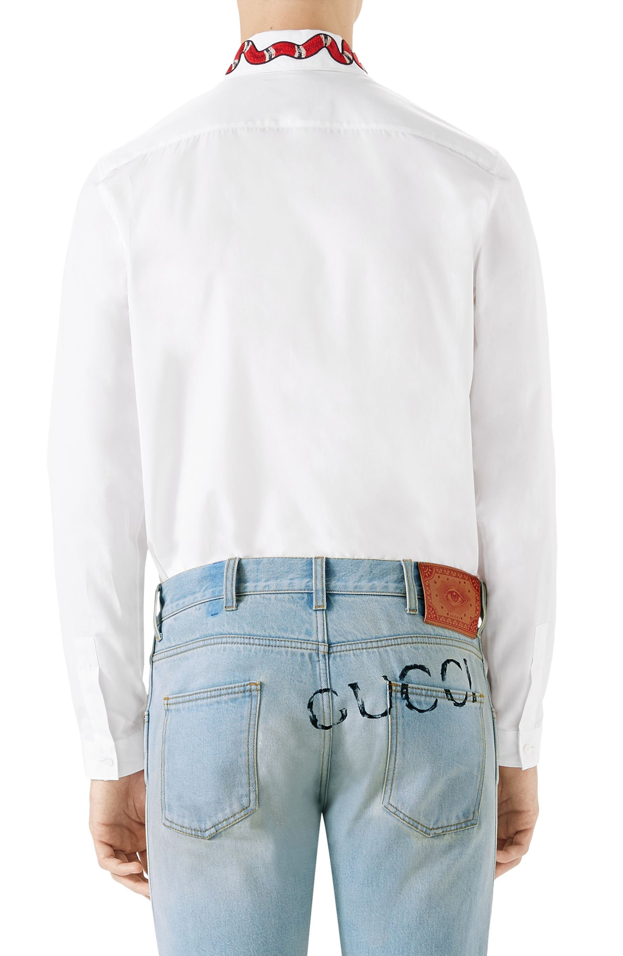 Snake Embroidered Collar Shirt,                             Alternate thumbnail 2, color,                             White