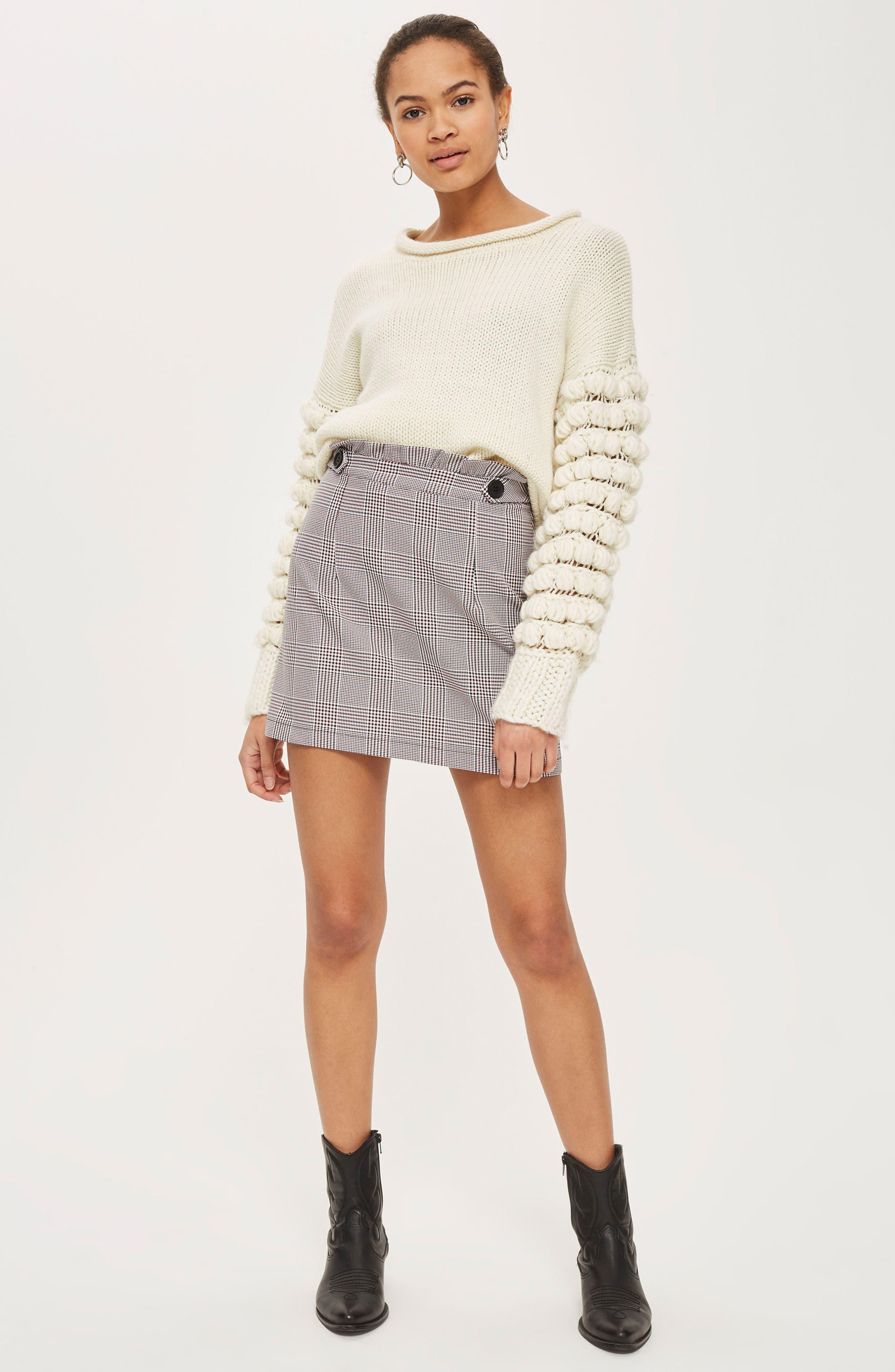 Frill Edge Heritage Check Skirt,                             Alternate thumbnail 2, color,                             Red Multi