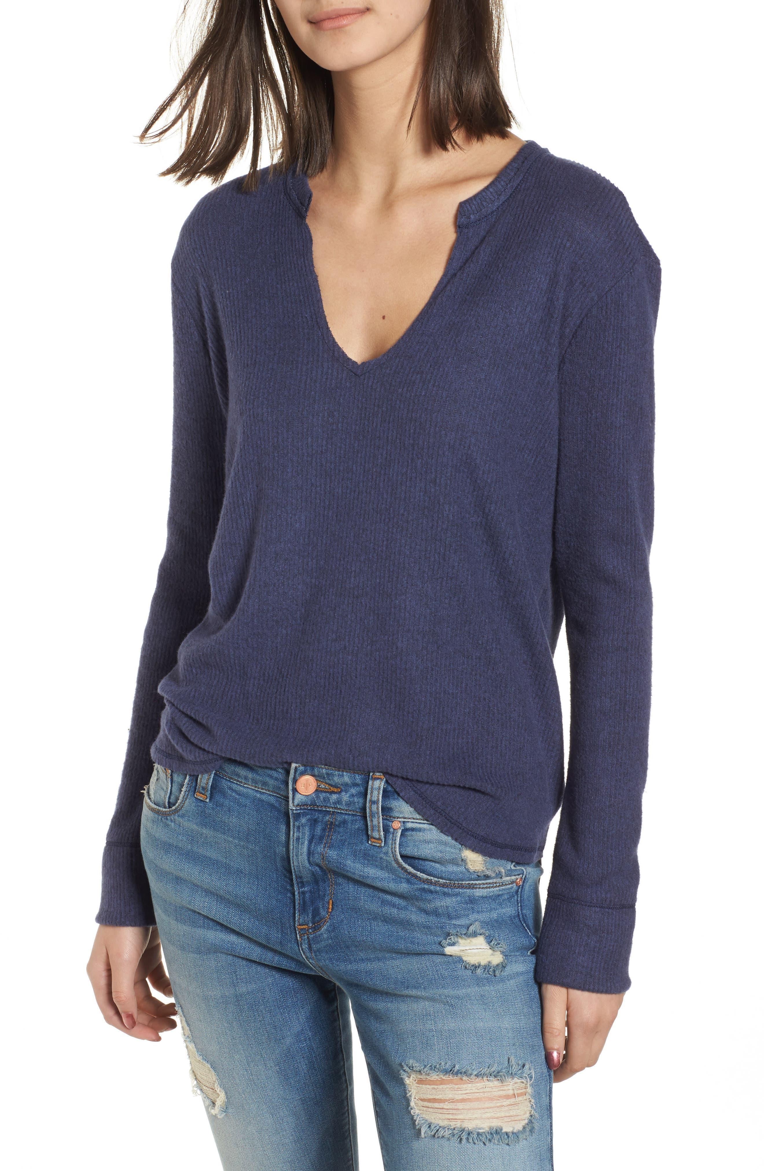 Socialite Ribbed Split Neck Sweater