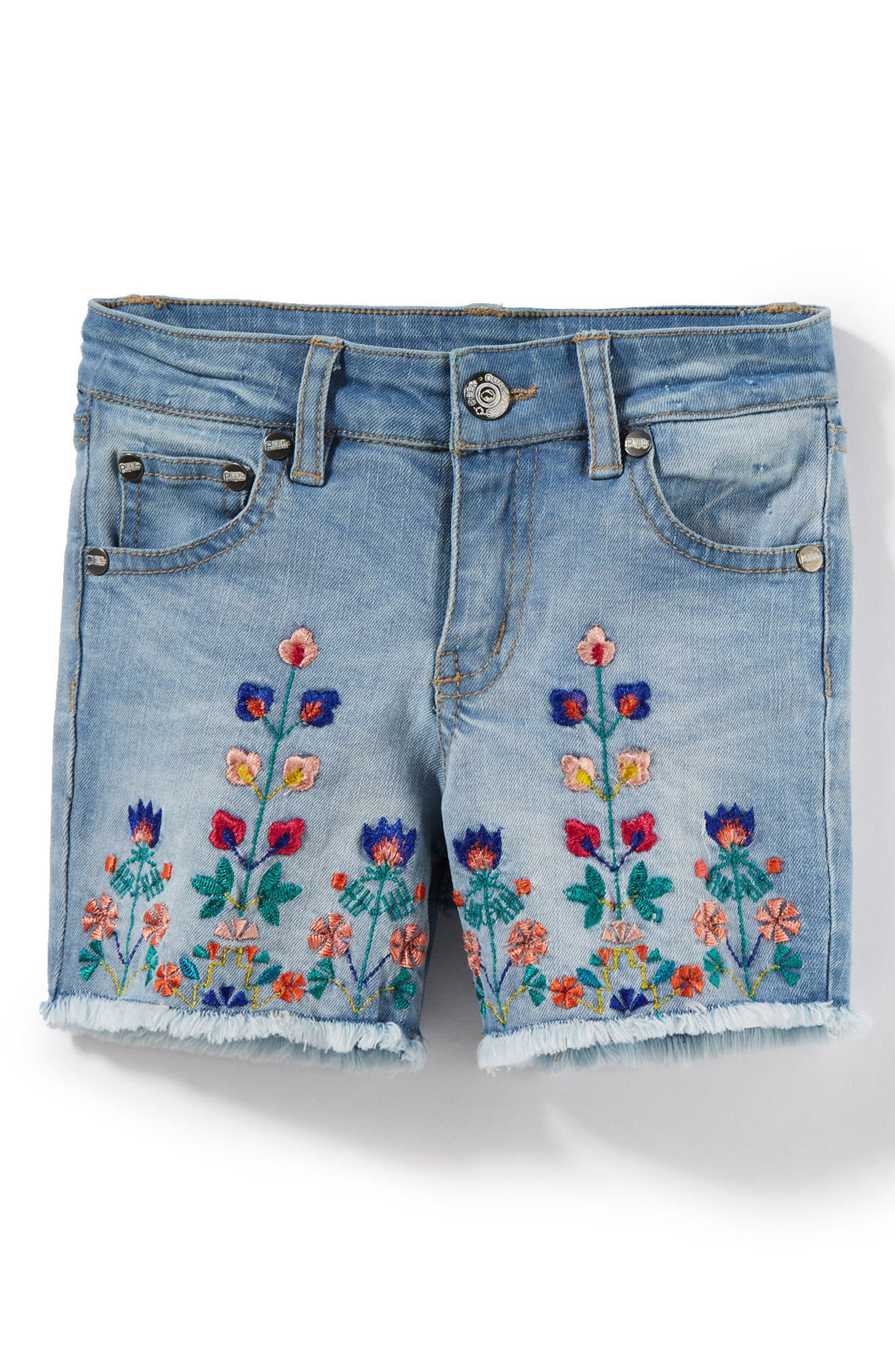 Griffin Embroidered Shorts,                         Main,                         color, Bleach