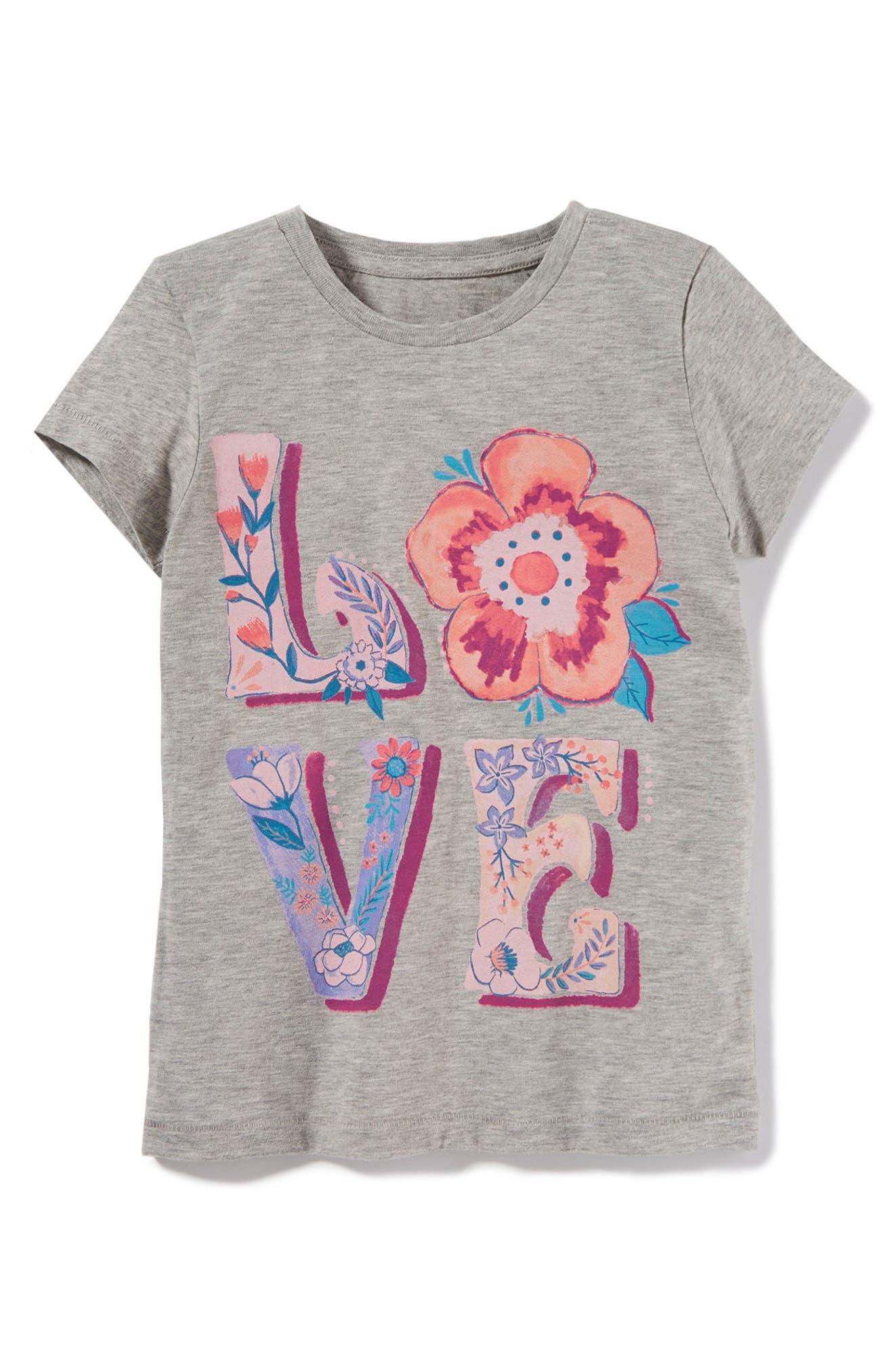 Love Folk Graphic Tee,                             Main thumbnail 1, color,                             Grey Heather