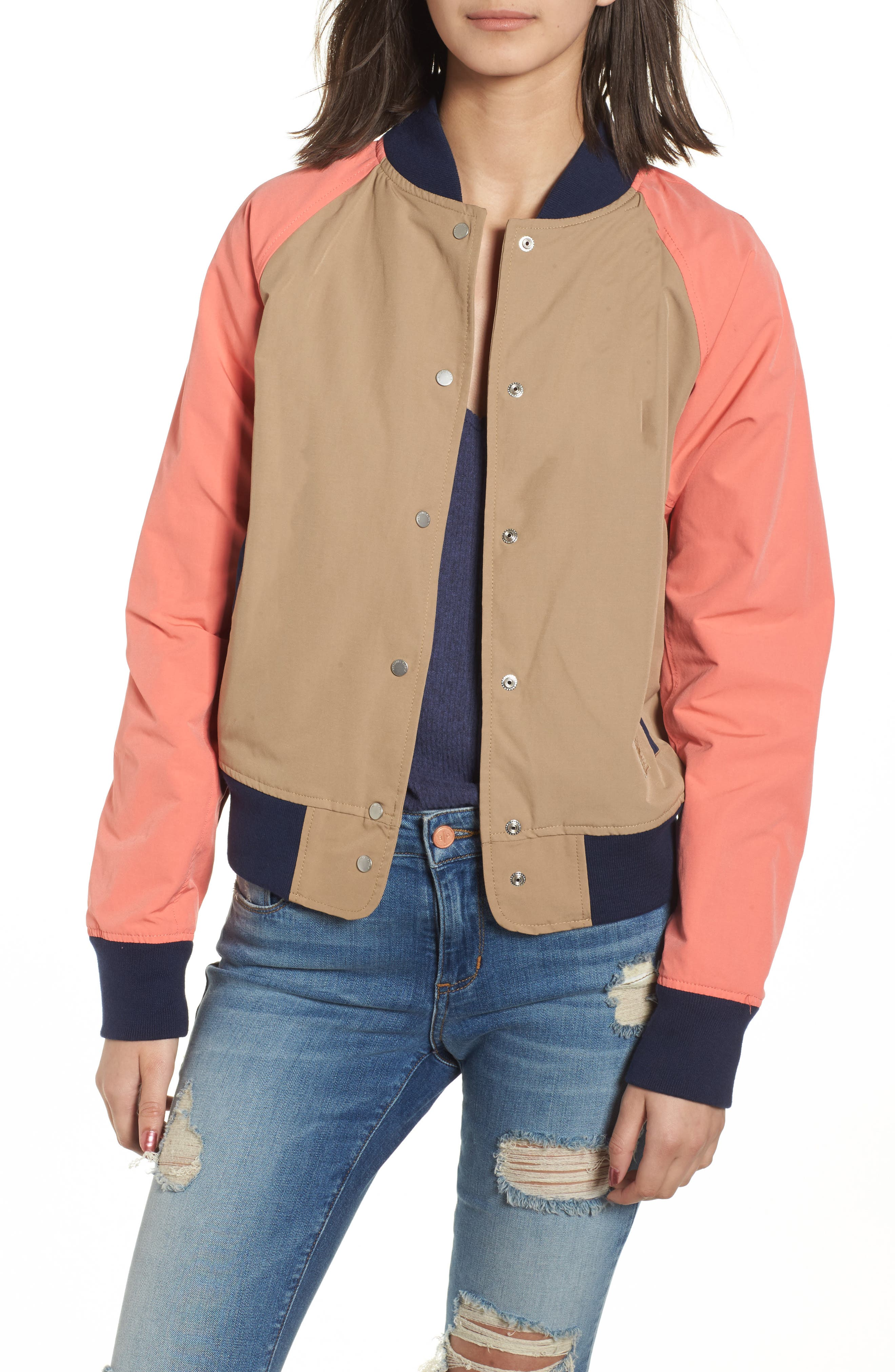 Varsity Jacket,                         Main,                         color, Khaki/ Georgia Peach