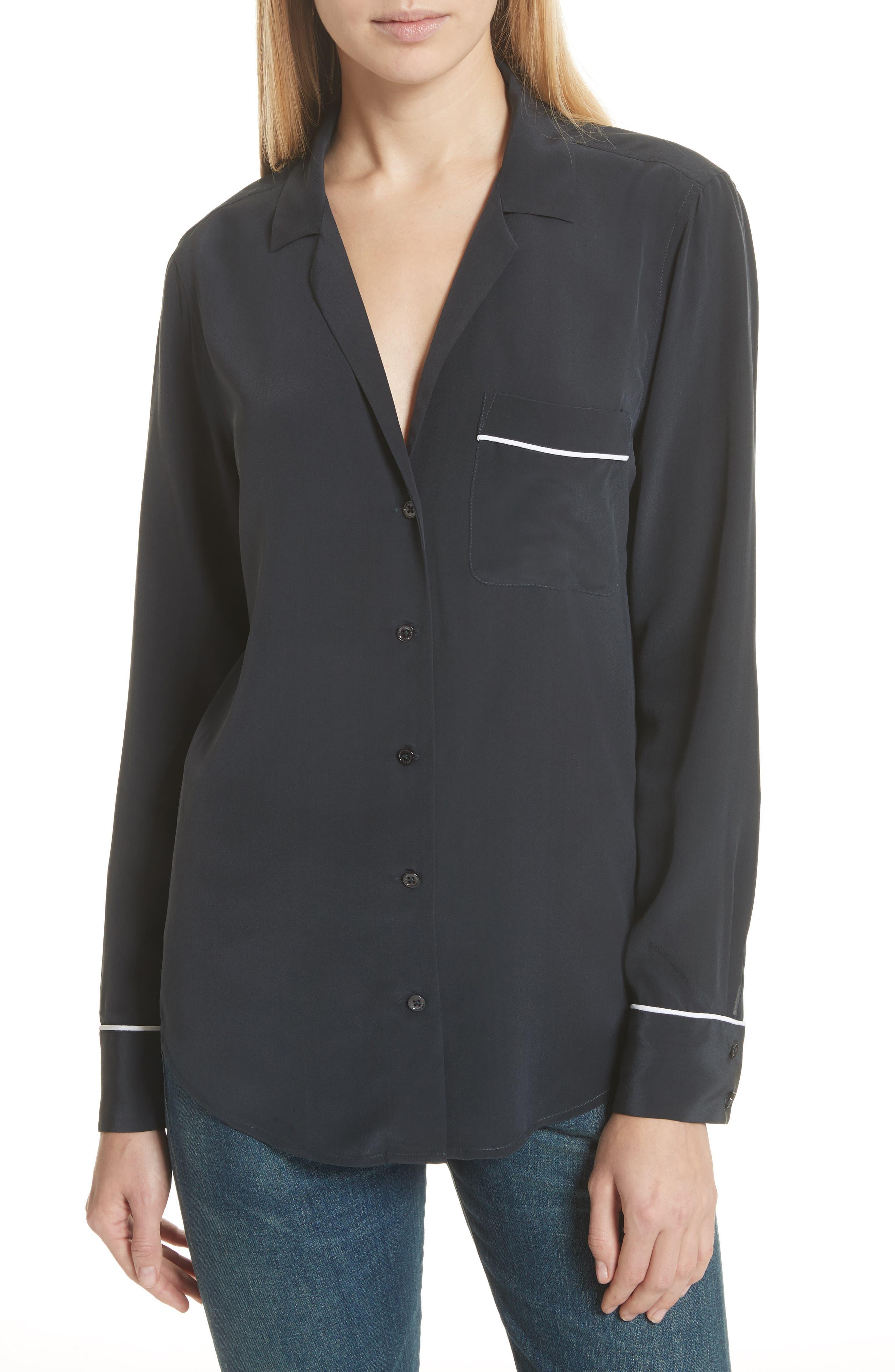 Alternate Image 1 Selected - Equipment Keira Piped Silk Shirt