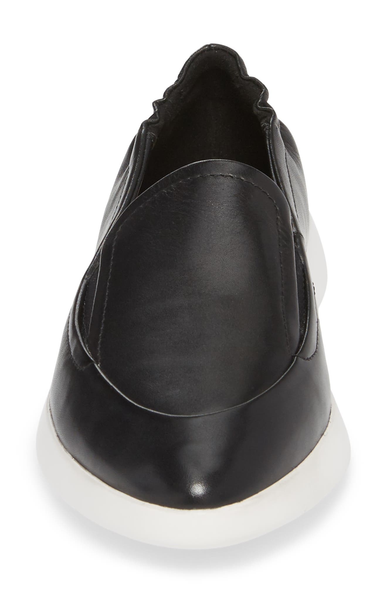Dana Loafer Sneaker,                             Alternate thumbnail 4, color,                             Black Leather