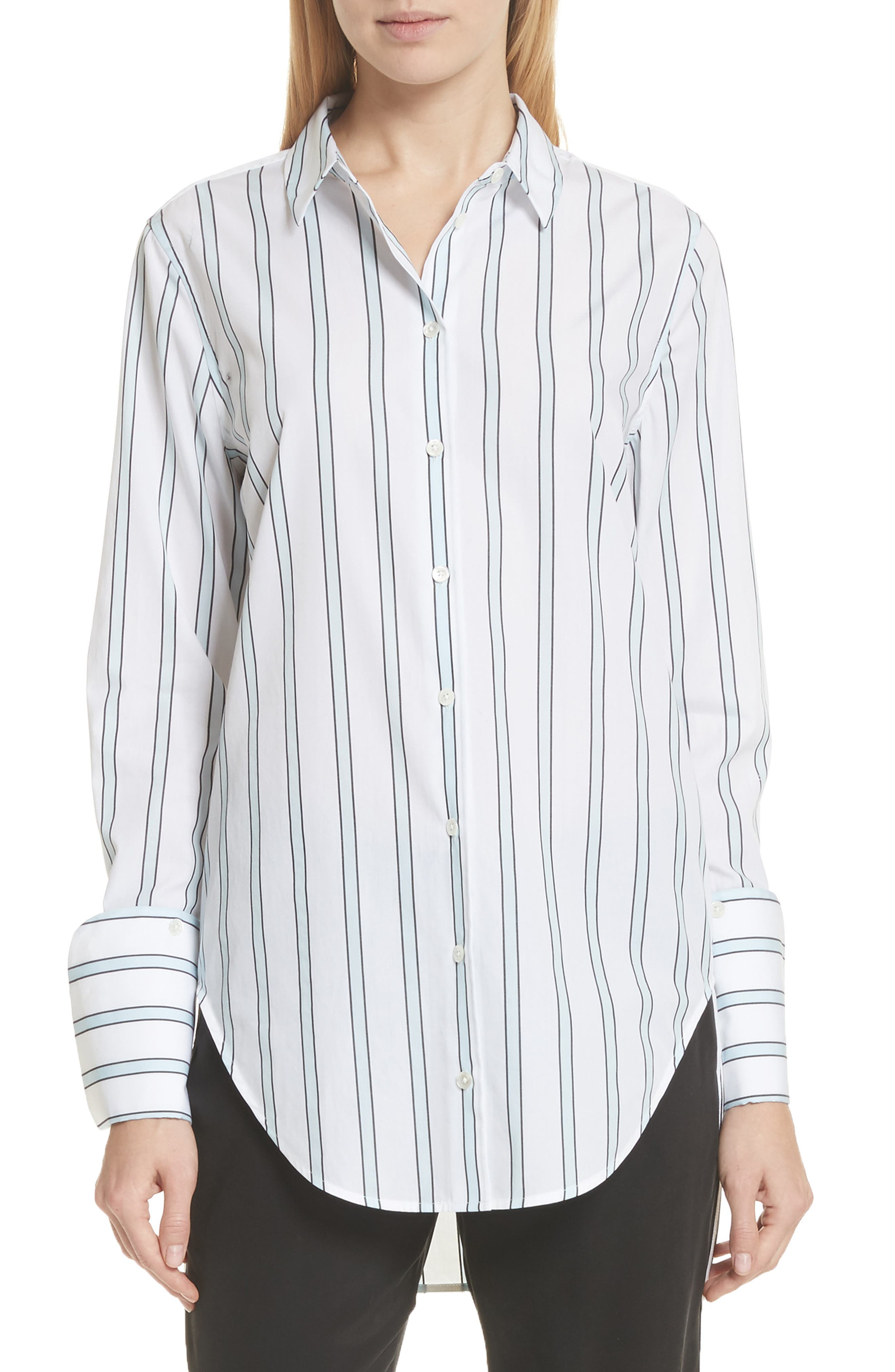 Essential Neopolitan Cuff Stripe Shirt,                         Main,                         color, Bright White-Cool Breeze