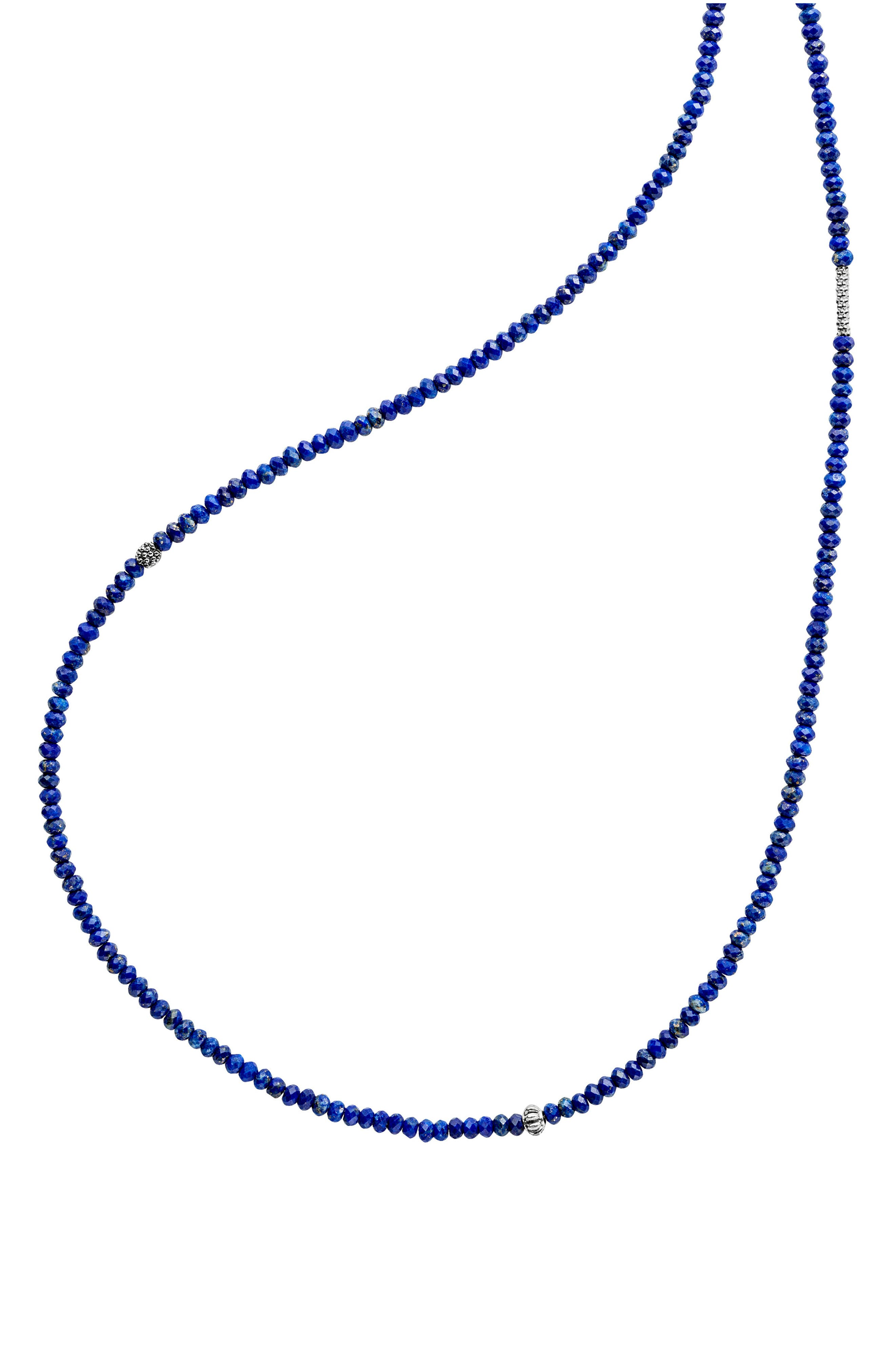 Caviar Icon Station Necklace,                             Alternate thumbnail 3, color,                             Silver/ Lapis
