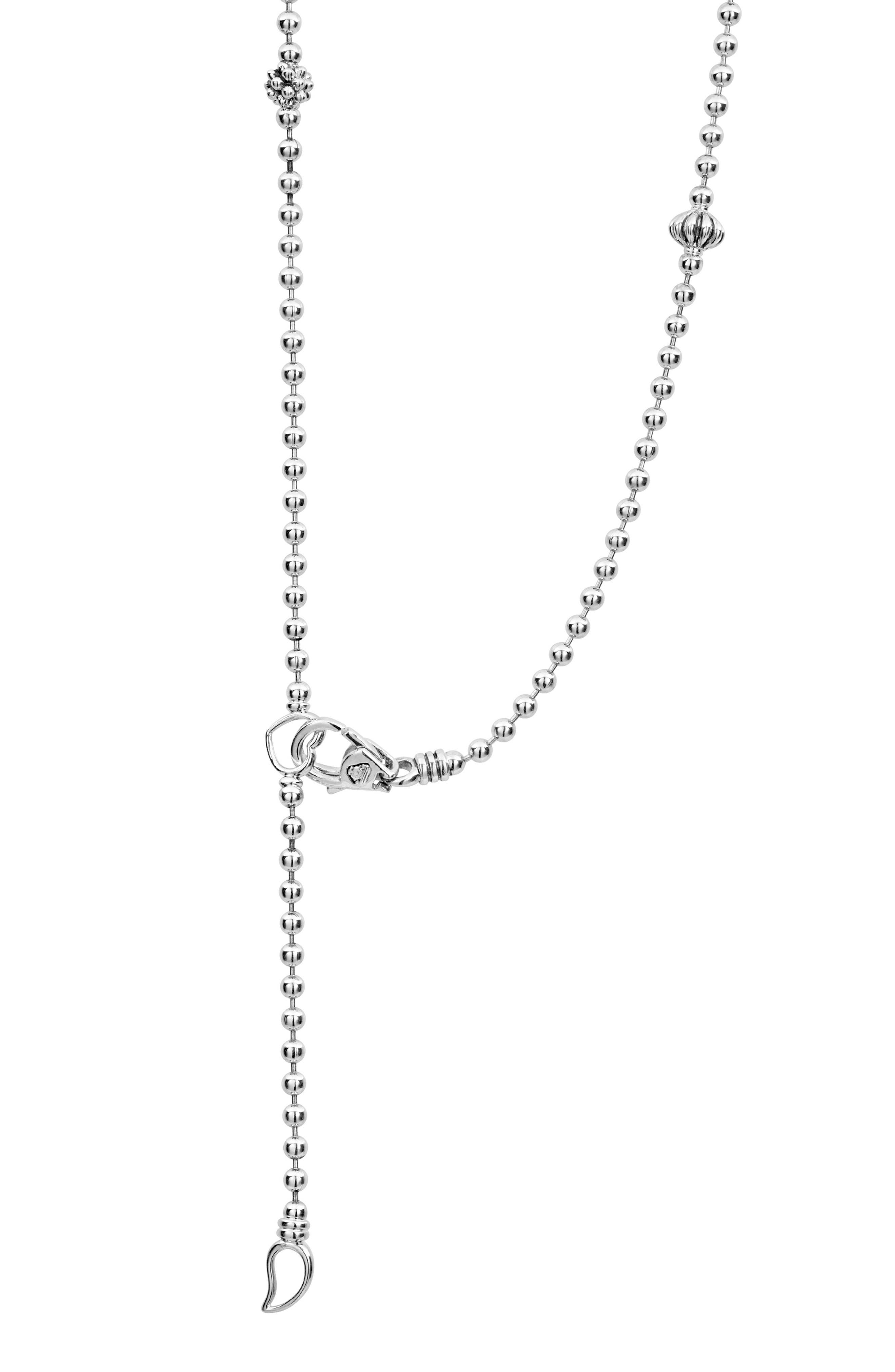 Caviar Icon Elements Necklace,                             Alternate thumbnail 4, color,                             Silver