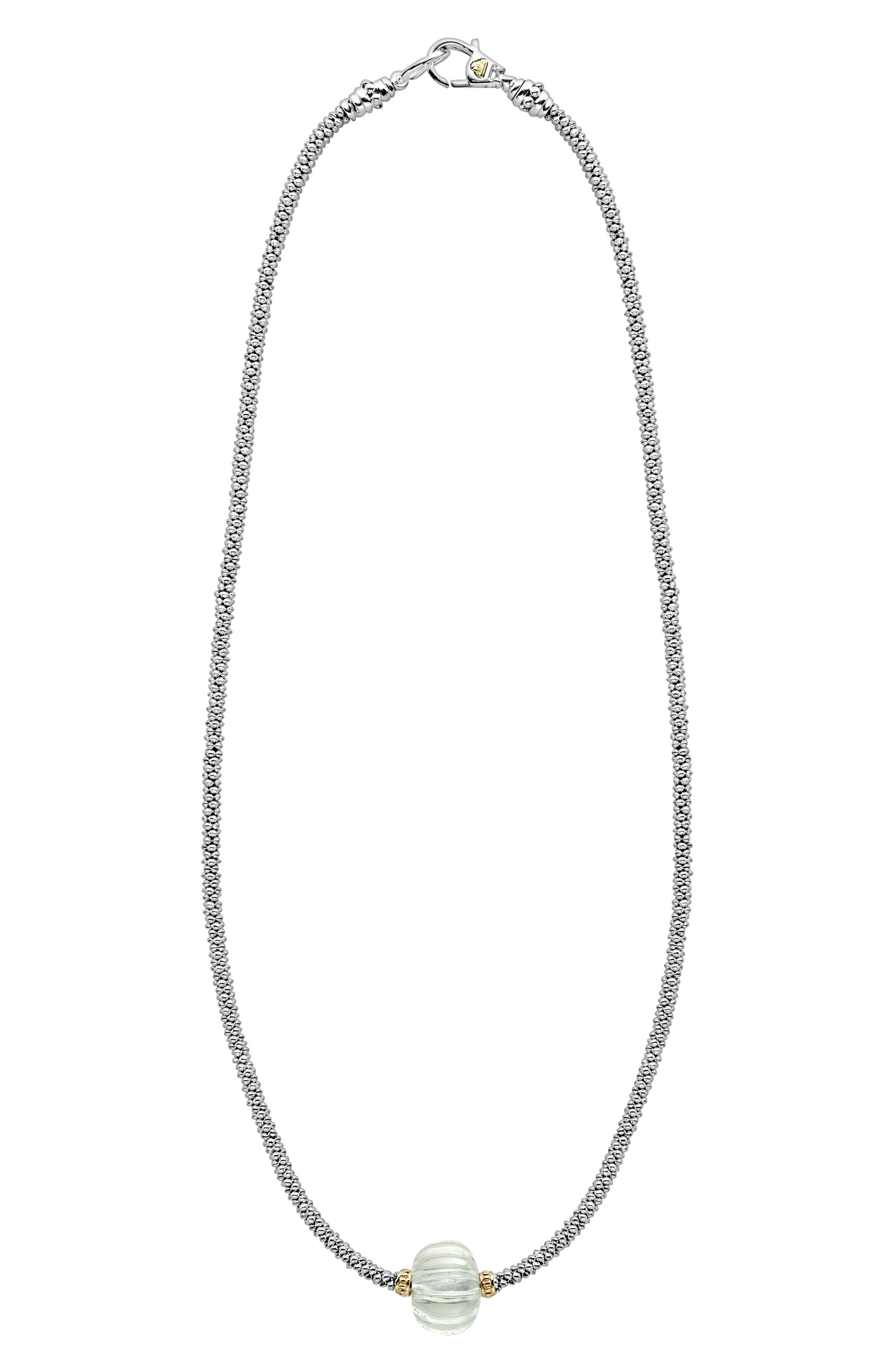 Caviar Forever Melon Bead Rope Necklace,                         Main,                         color, Silver/ Green Amethyst