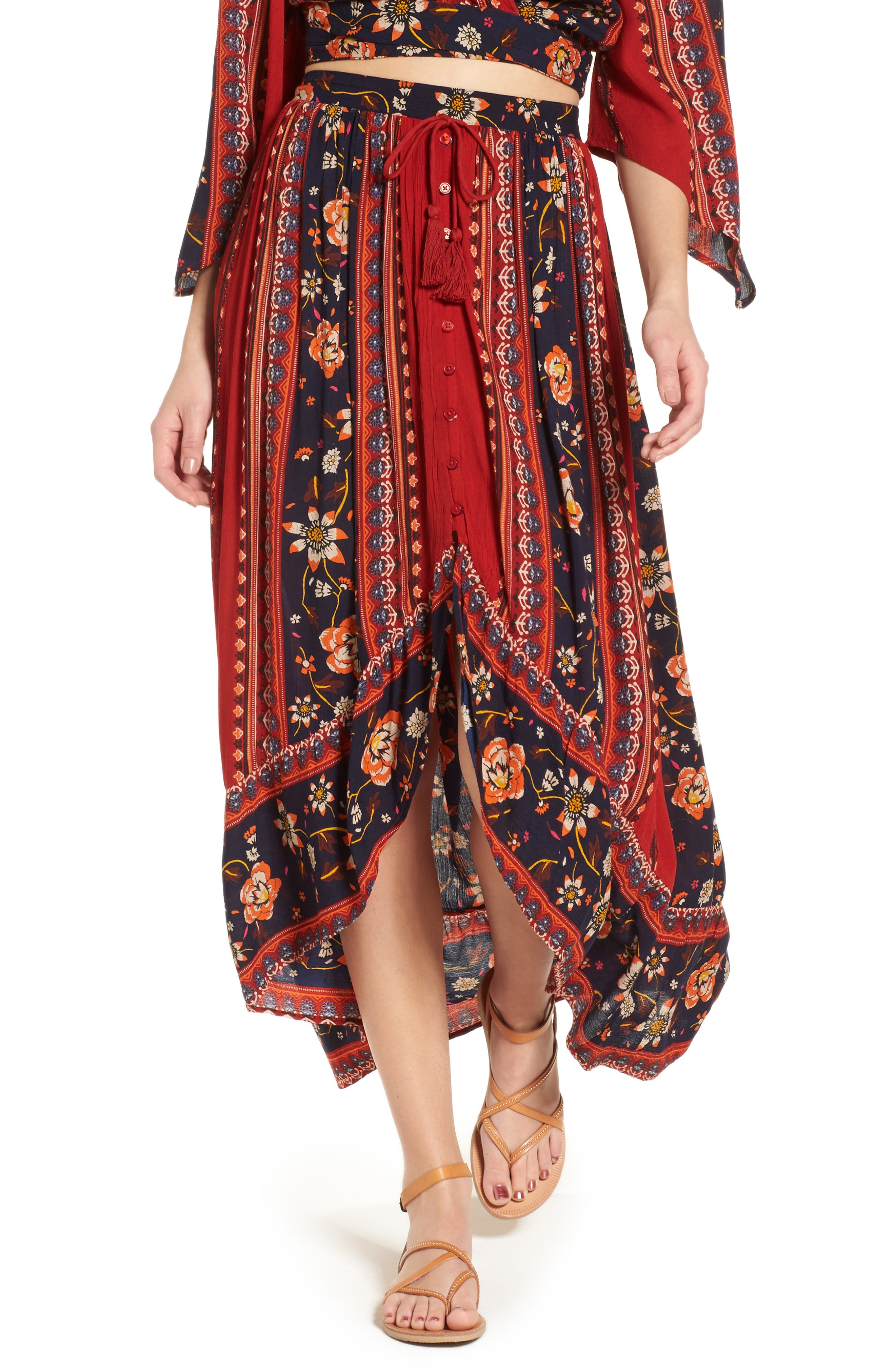Main Image - Band of Gypsies High/Low Button Front Skirt
