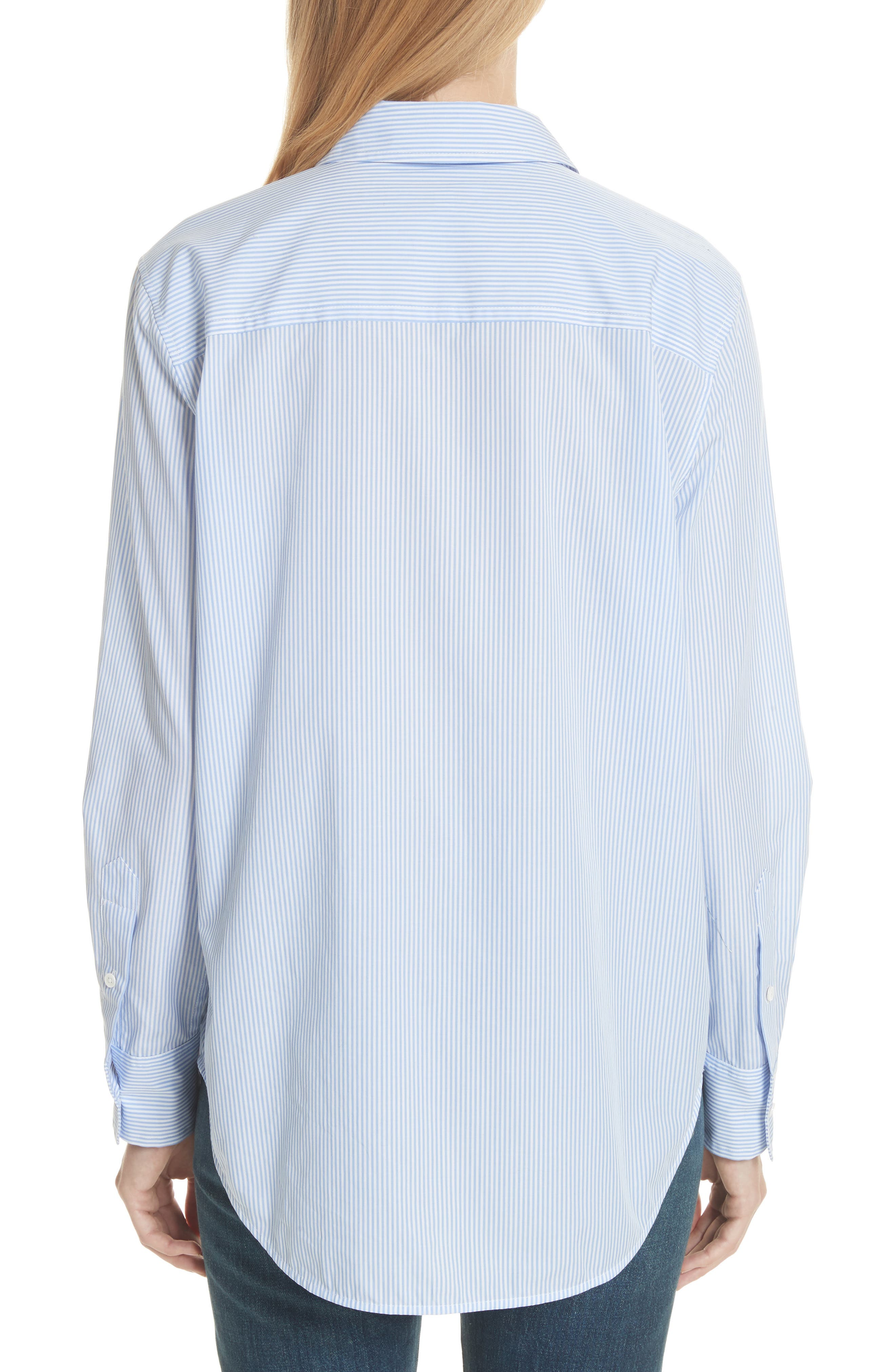 Kenton Stripe Poplin Top,                             Alternate thumbnail 2, color,                             Bright White