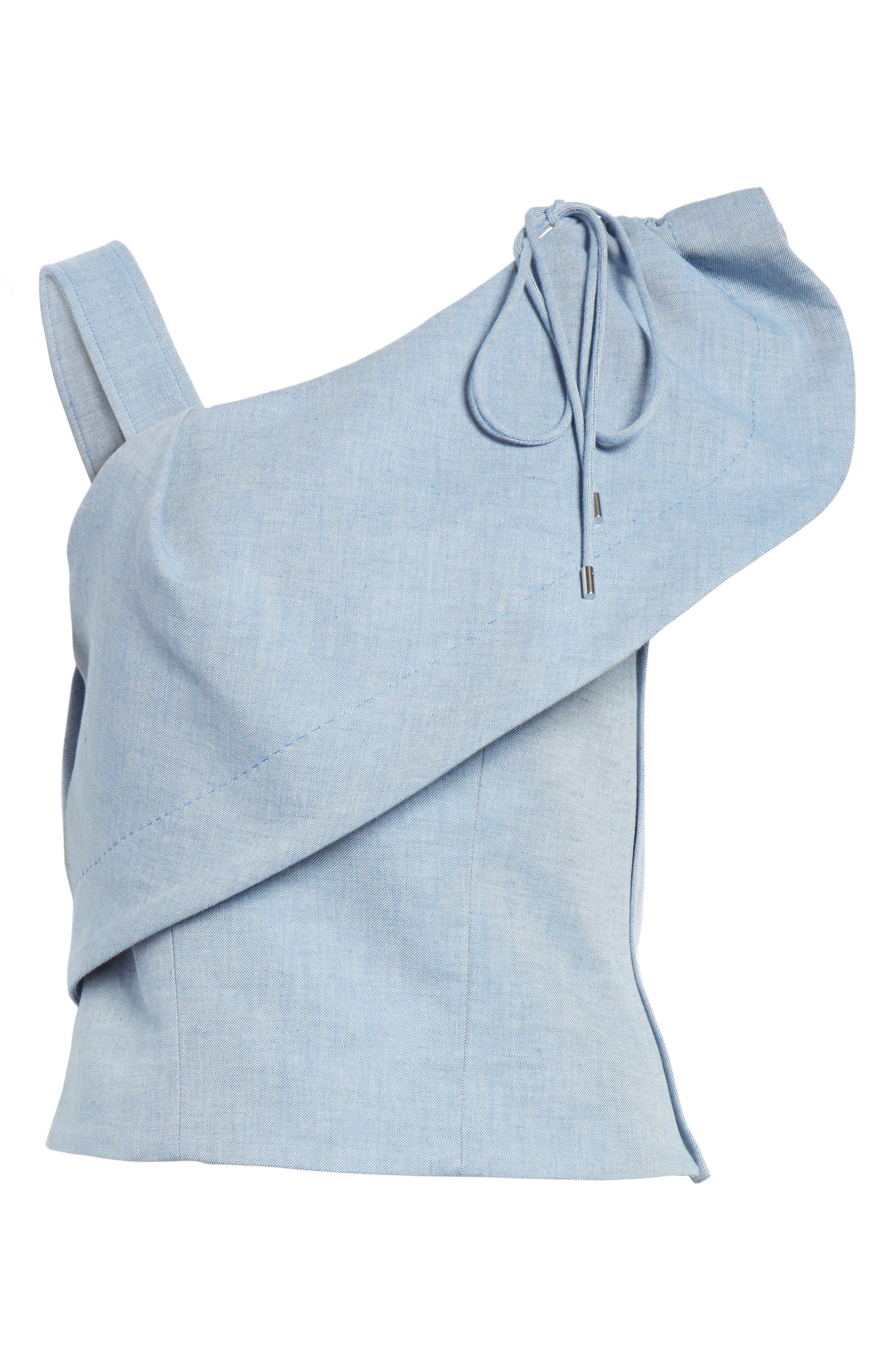 One-Shoulder Cotton & Linen Blend Top,                             Alternate thumbnail 6, color,                             Bleu Acier