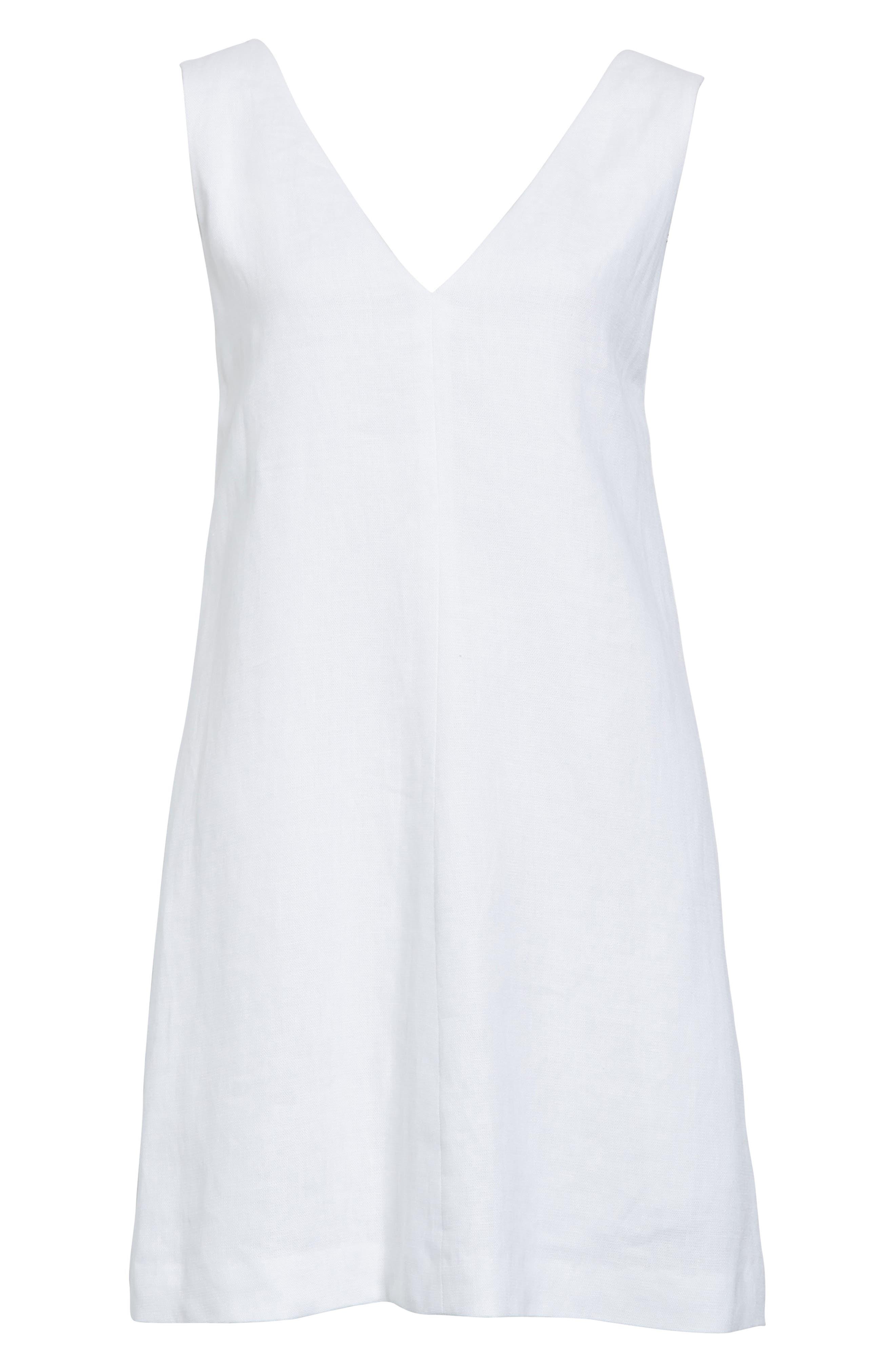 Linen Shift Dress,                             Alternate thumbnail 6, color,                             White