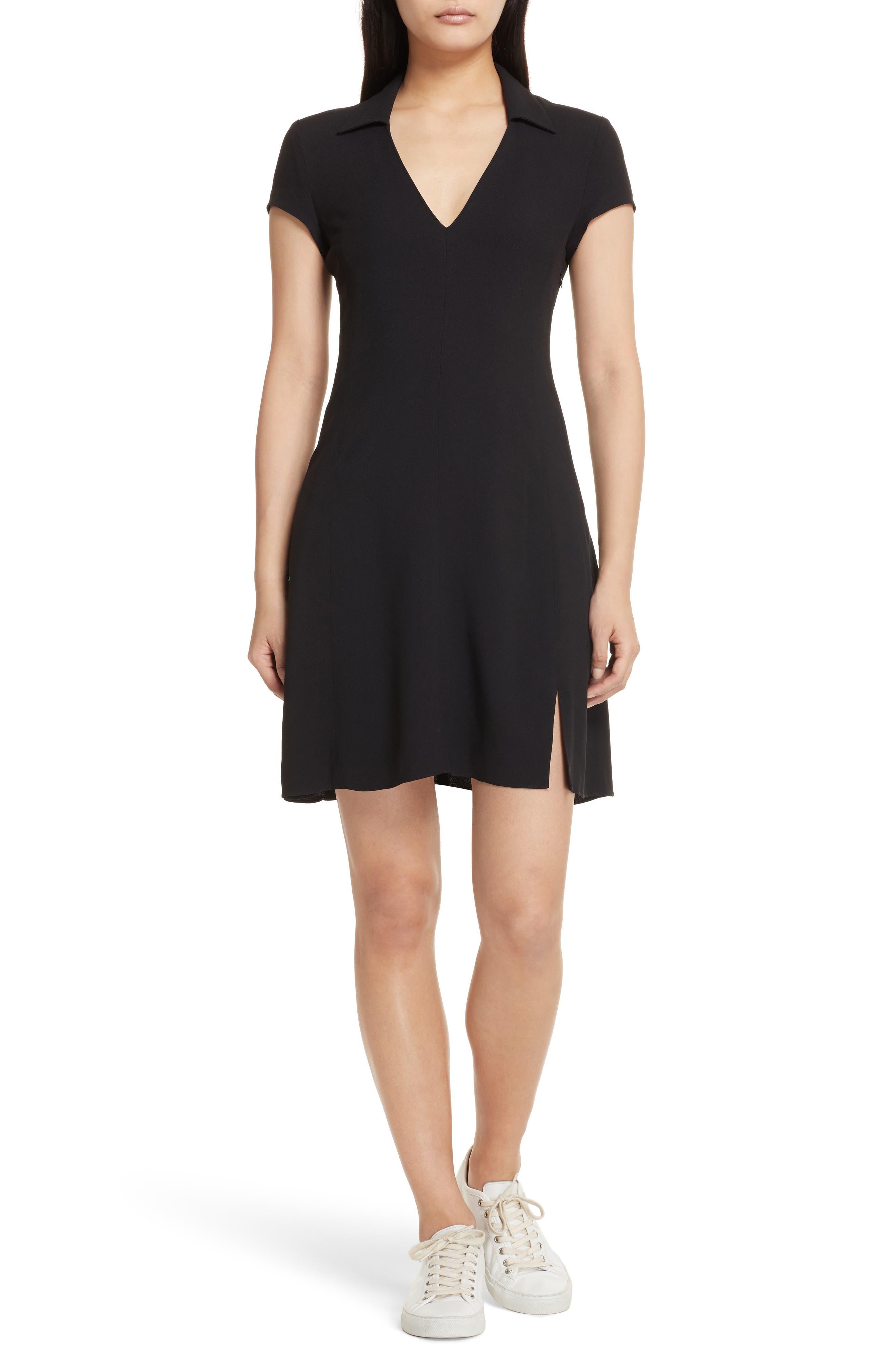 Rosina Easy Day Crepe Dress,                             Main thumbnail 1, color,                             Black