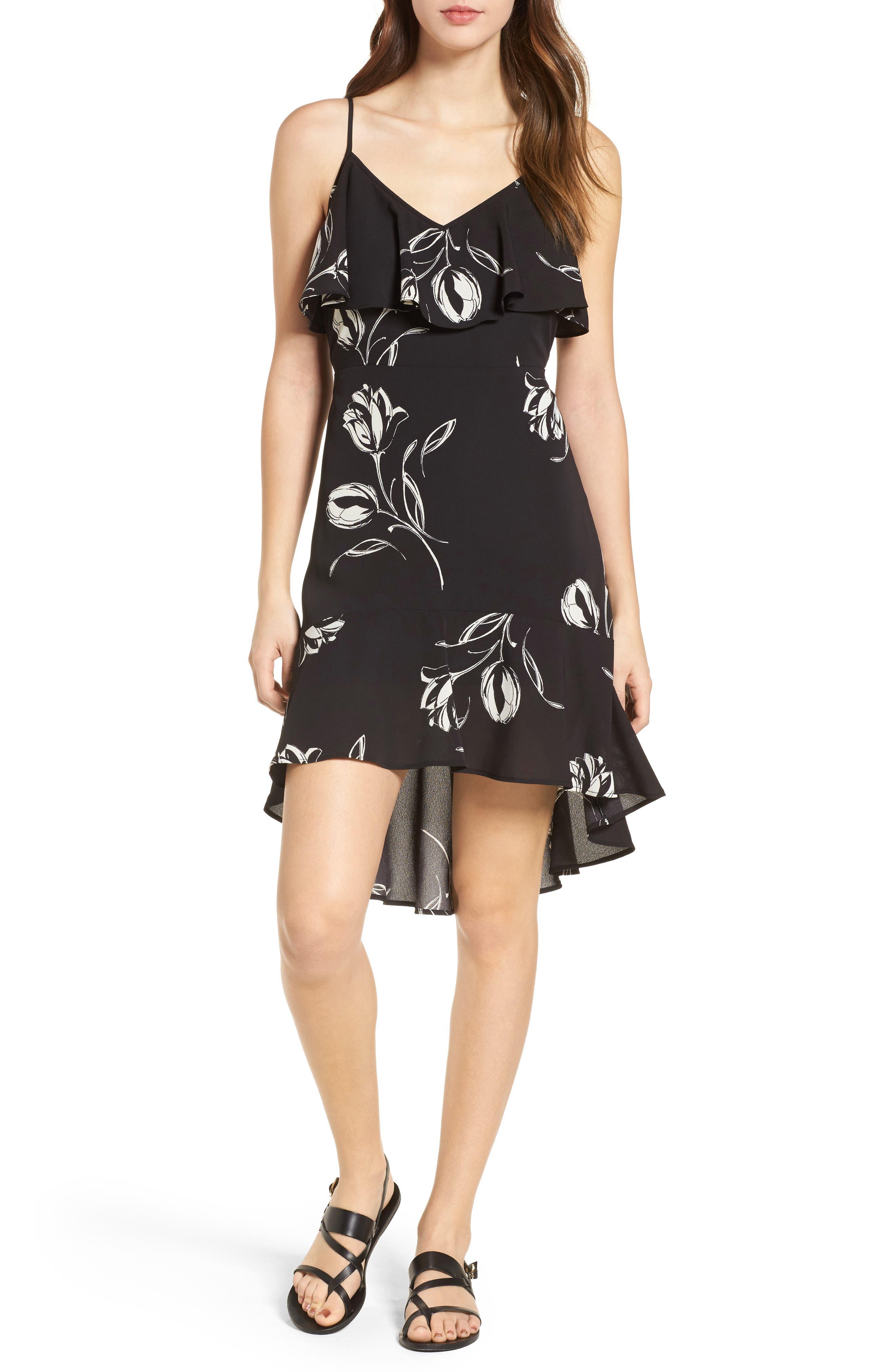 Ruffle Trim Tulip Print Dress,                             Main thumbnail 1, color,                             Black/ Ivory