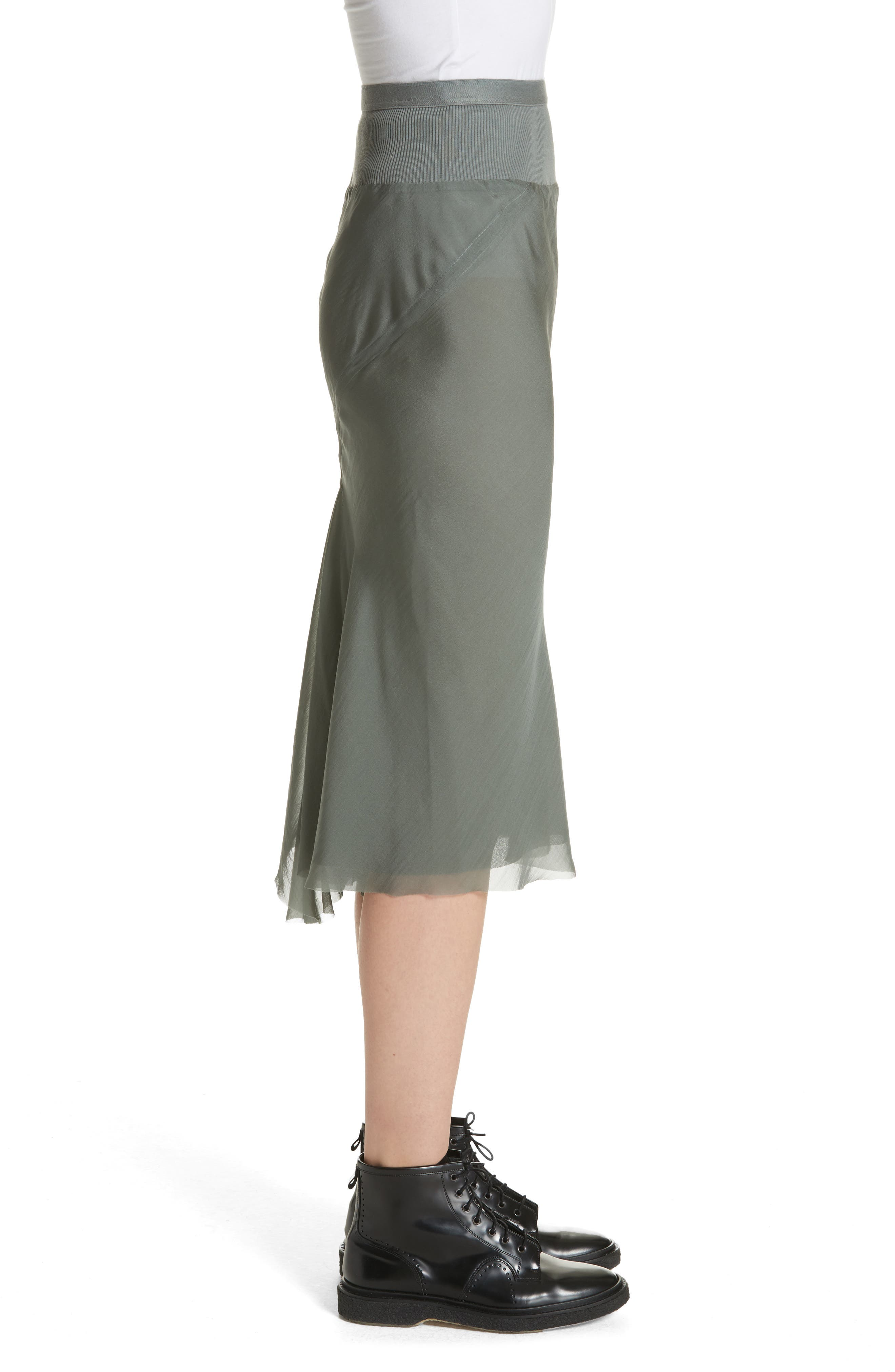 Silk Chiffon Midi Skirt,                             Alternate thumbnail 3, color,                             Sage