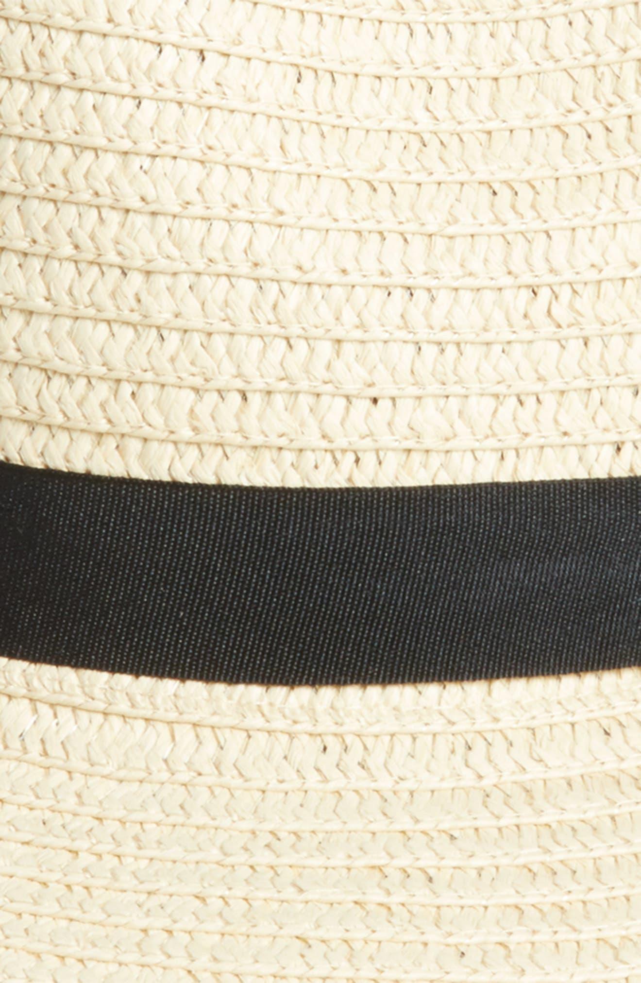 Pompom Straw Fedora,                             Alternate thumbnail 2, color,                             Natural/ Black