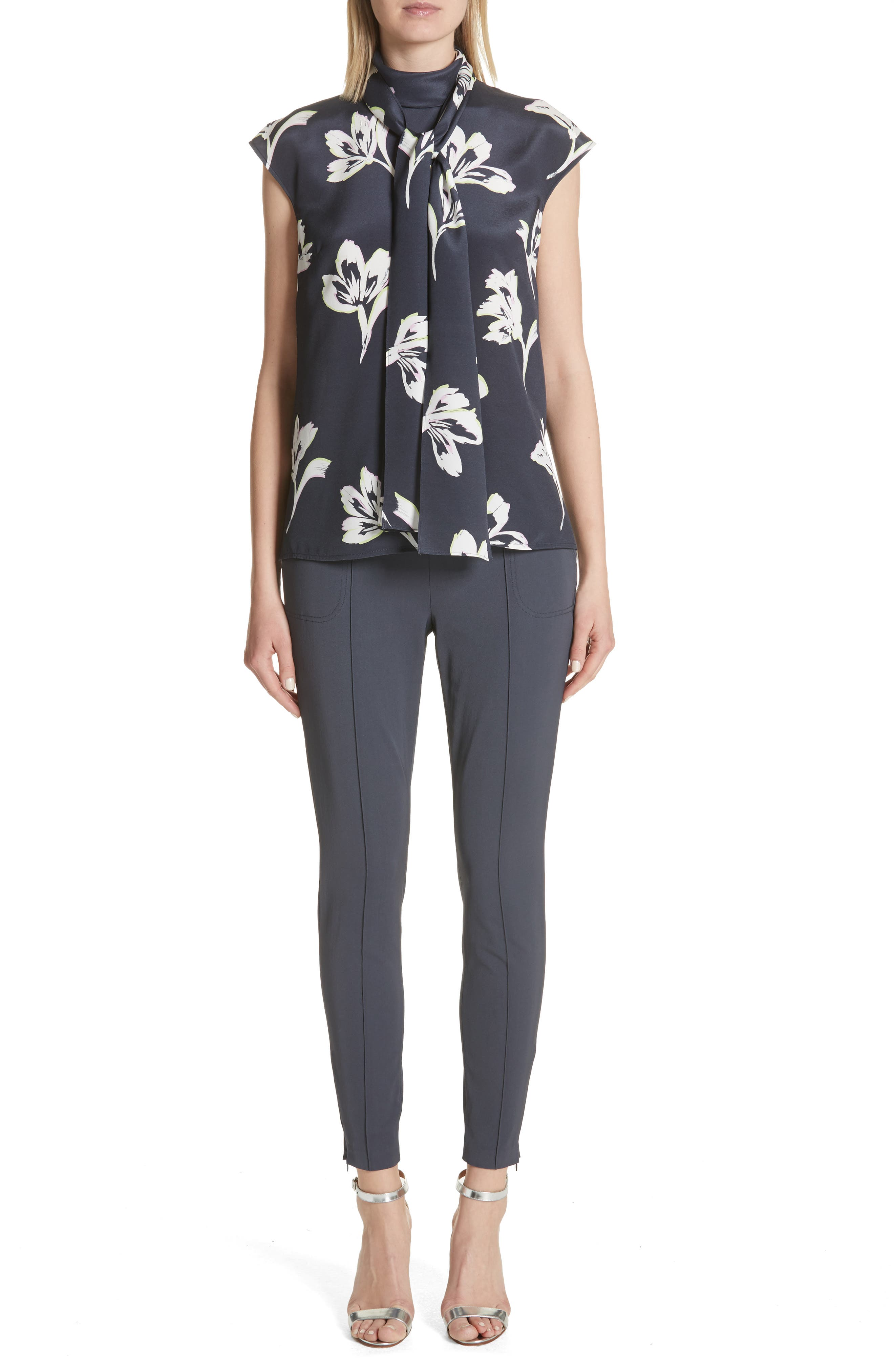 Falling Flower Print Stretch Silk Top,                             Alternate thumbnail 2, color,                             Anthracite Multi