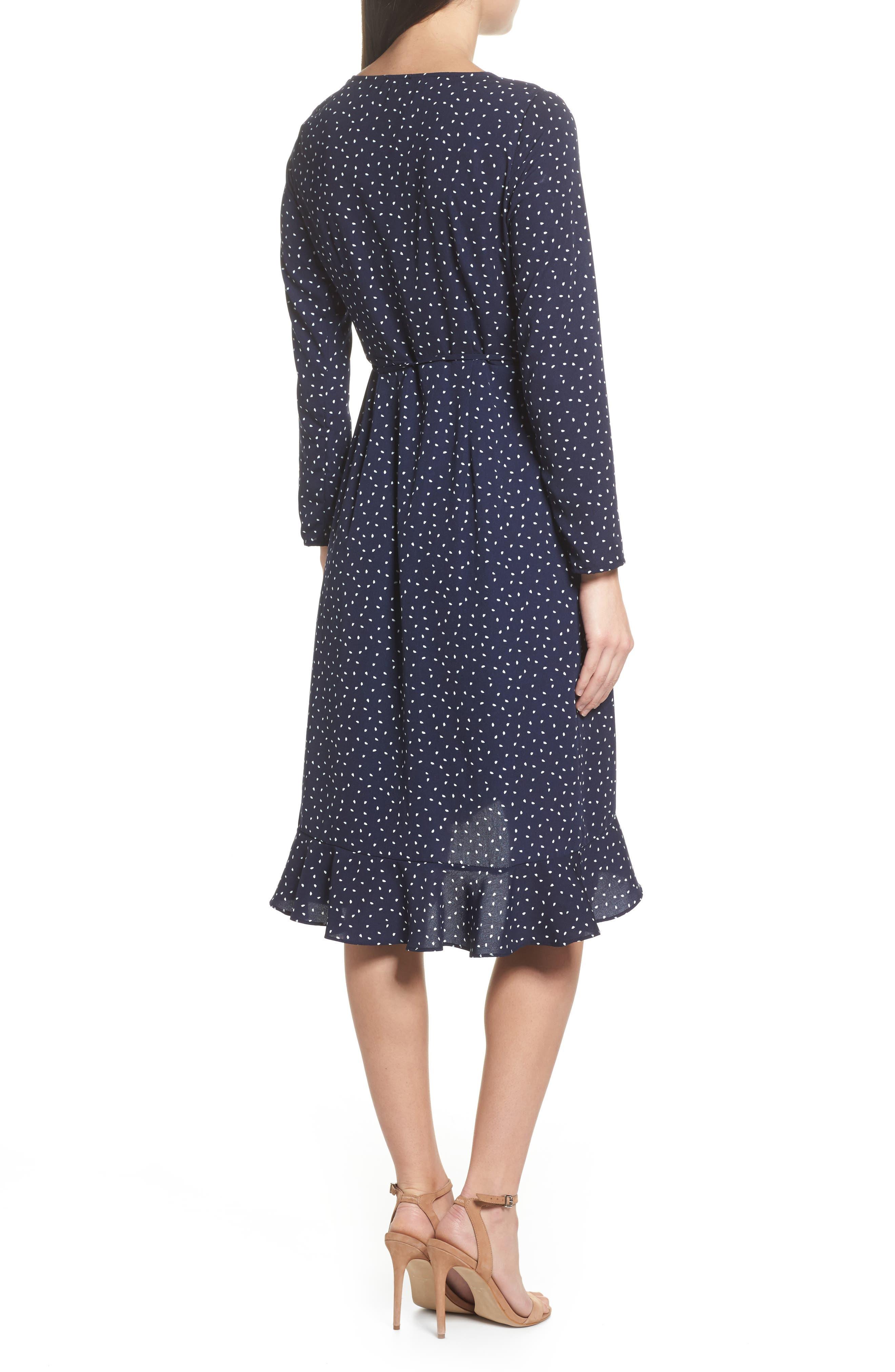 Print Wrap Dress,                             Alternate thumbnail 2, color,                             Small Mixed Dot
