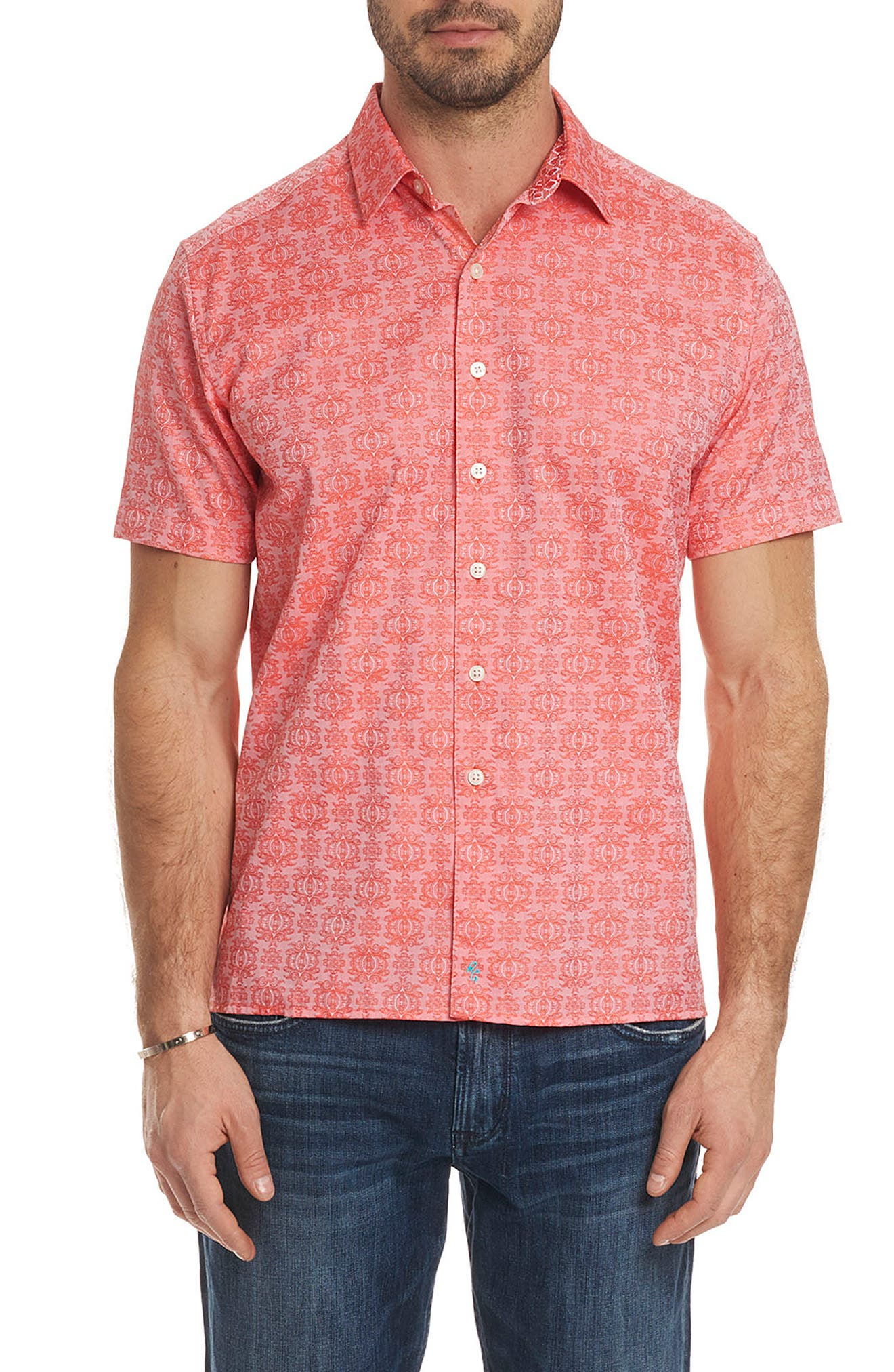 Cullen Squared Regular Fit Short Sleeve Sport Shirt,                             Main thumbnail 1, color,                             Coral