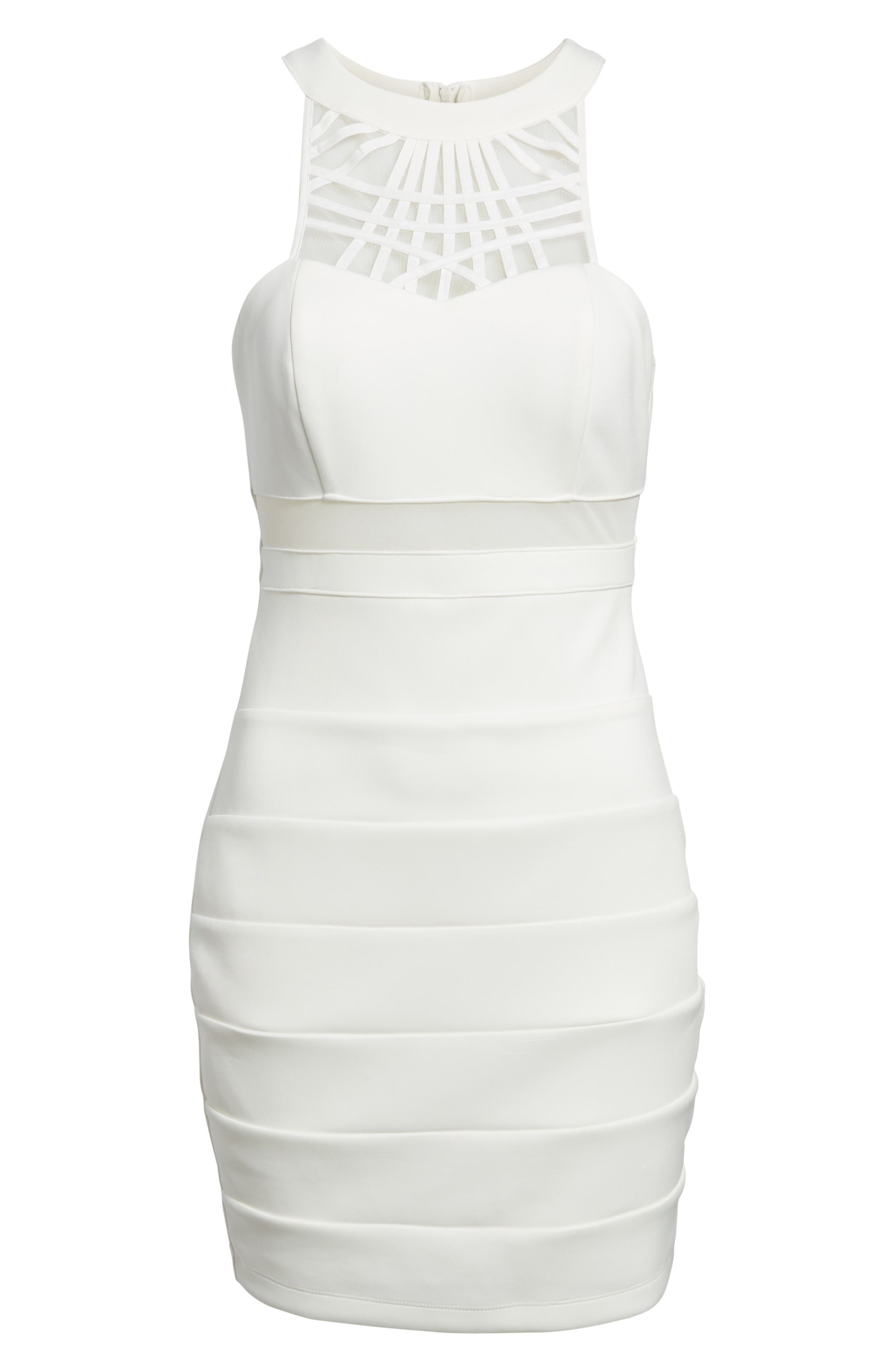 Strappy Neck Body-Con Dress,                             Alternate thumbnail 6, color,                             Ivory