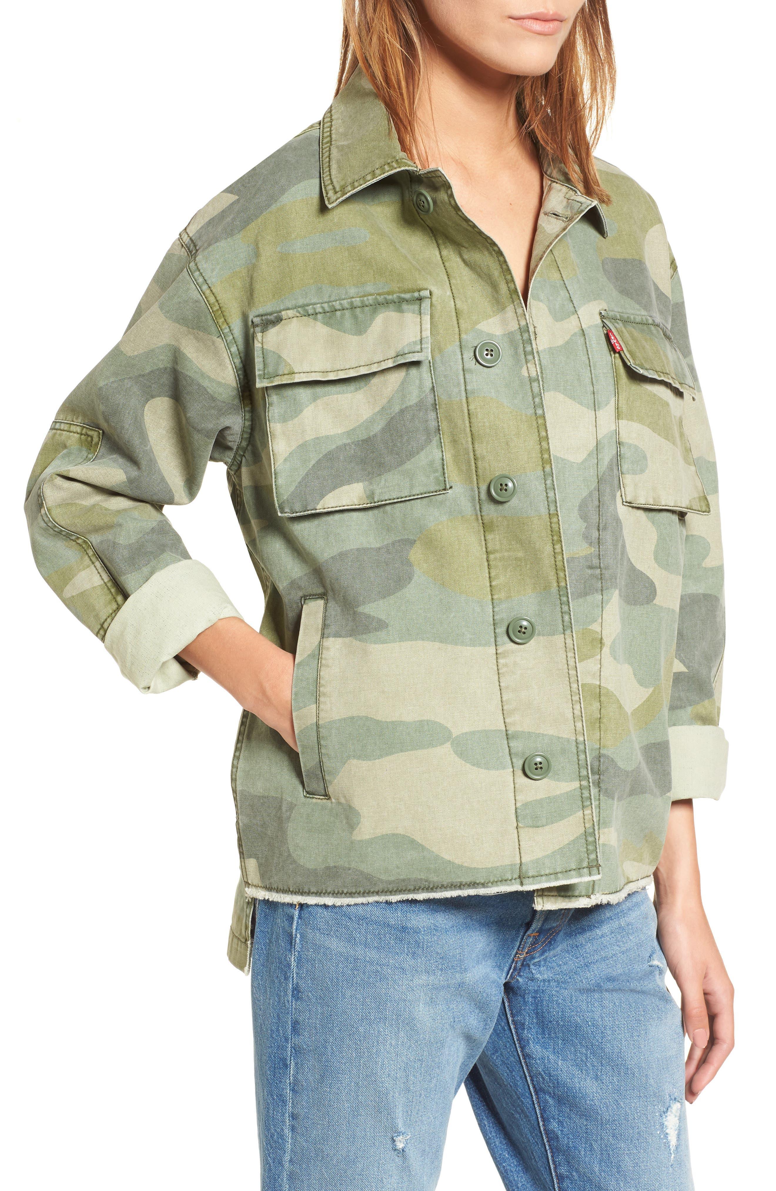 Levi's® Oversize Cotton Canvas Camo Shirt Jacket