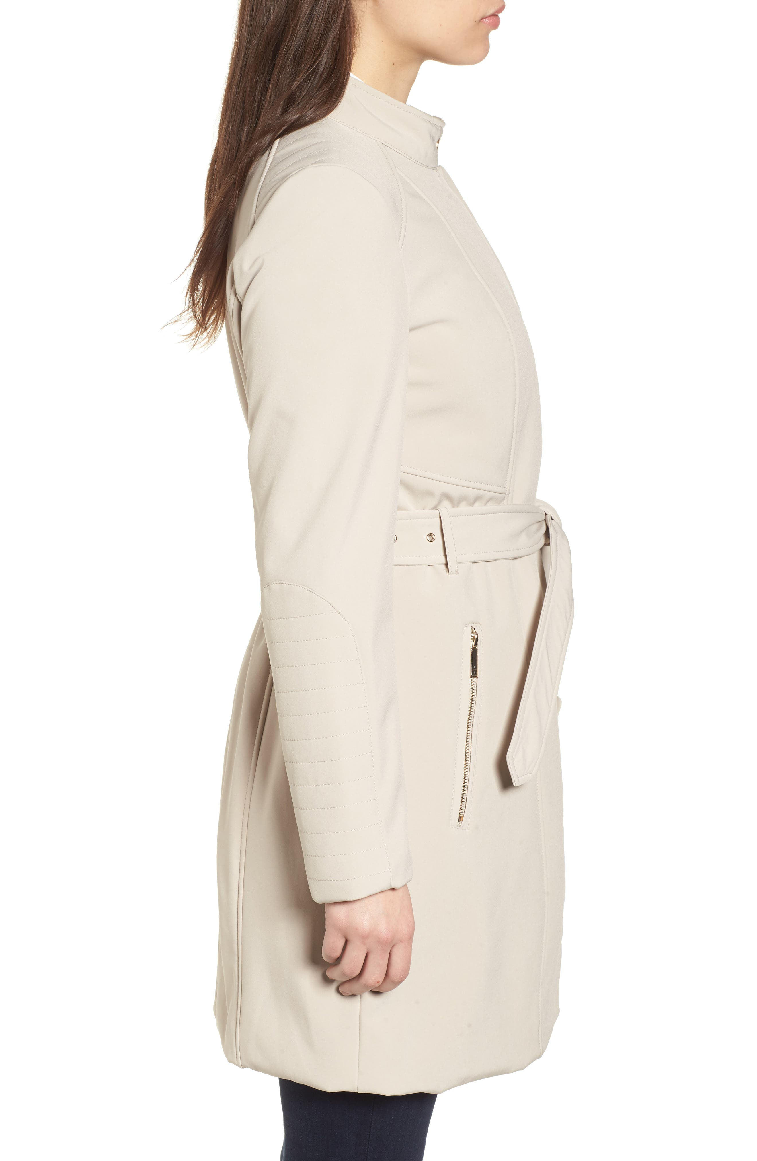 Asymmetrical Belted Trench Coat,                             Alternate thumbnail 3, color,                             Bone