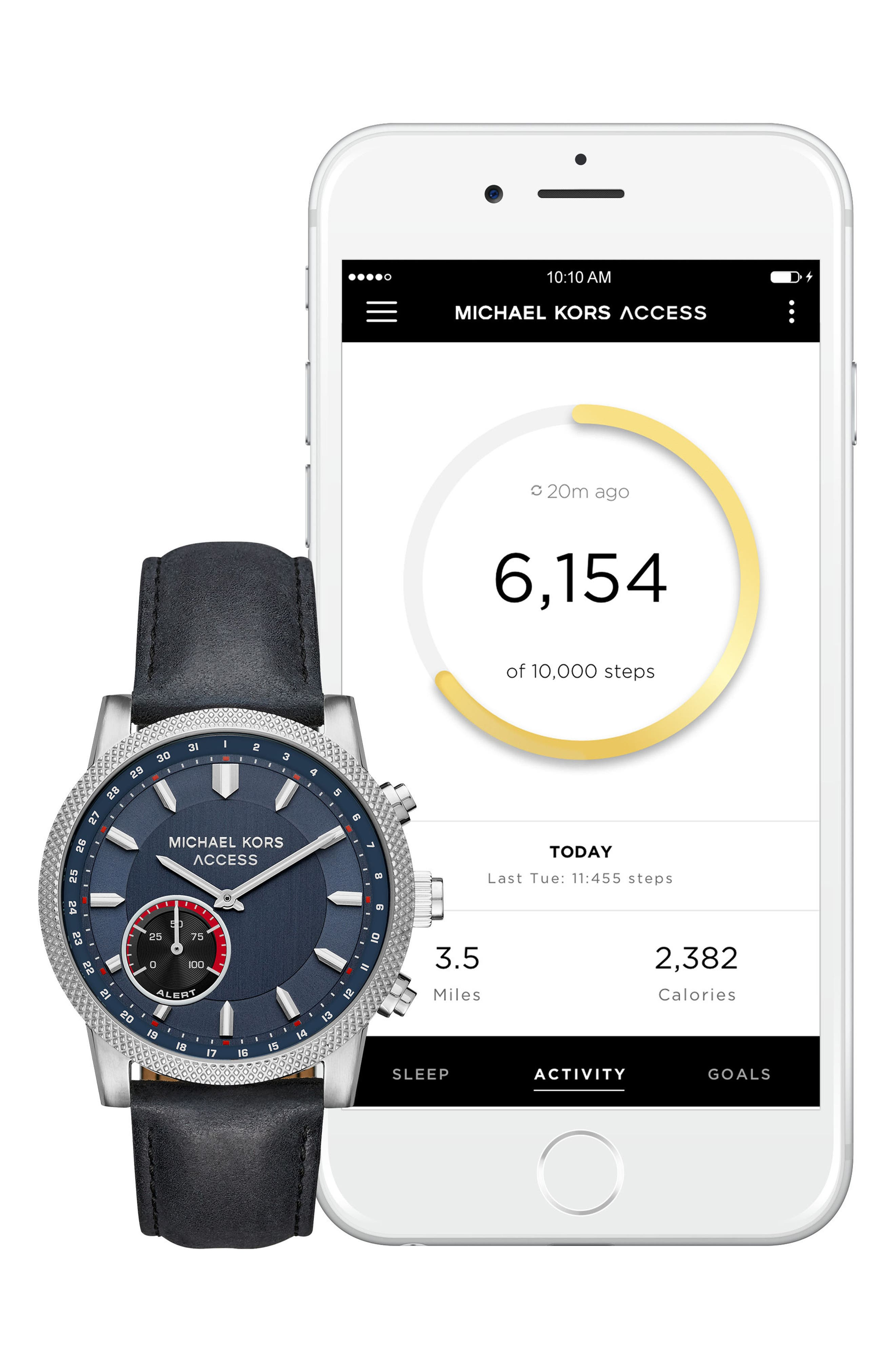 Alternate Image 4  - Michael Kors Access Scout Hybrid Leather Strap Smart Watch, 43mm