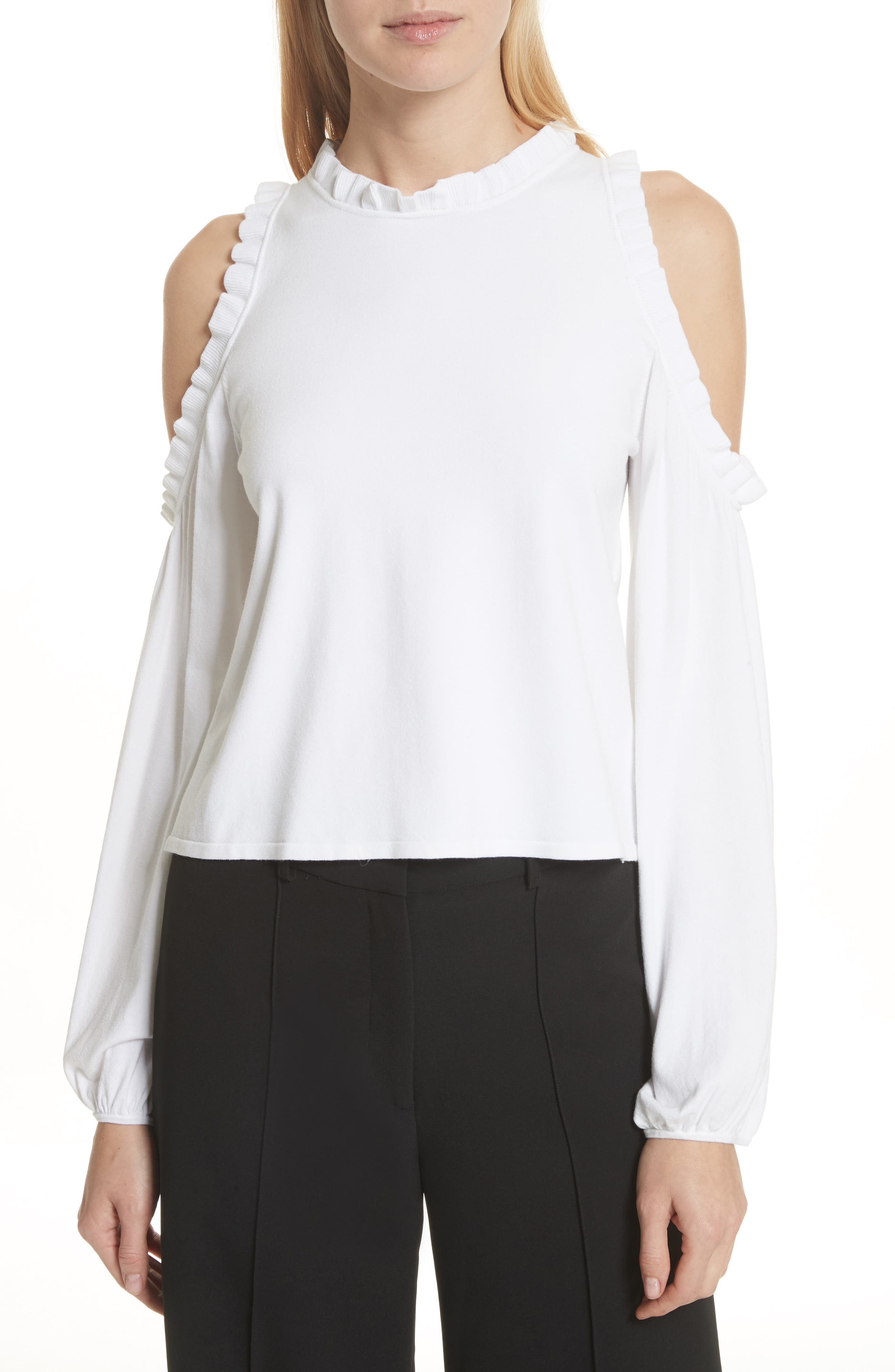 Cold Shoulder Ruffle Top,                         Main,                         color, White