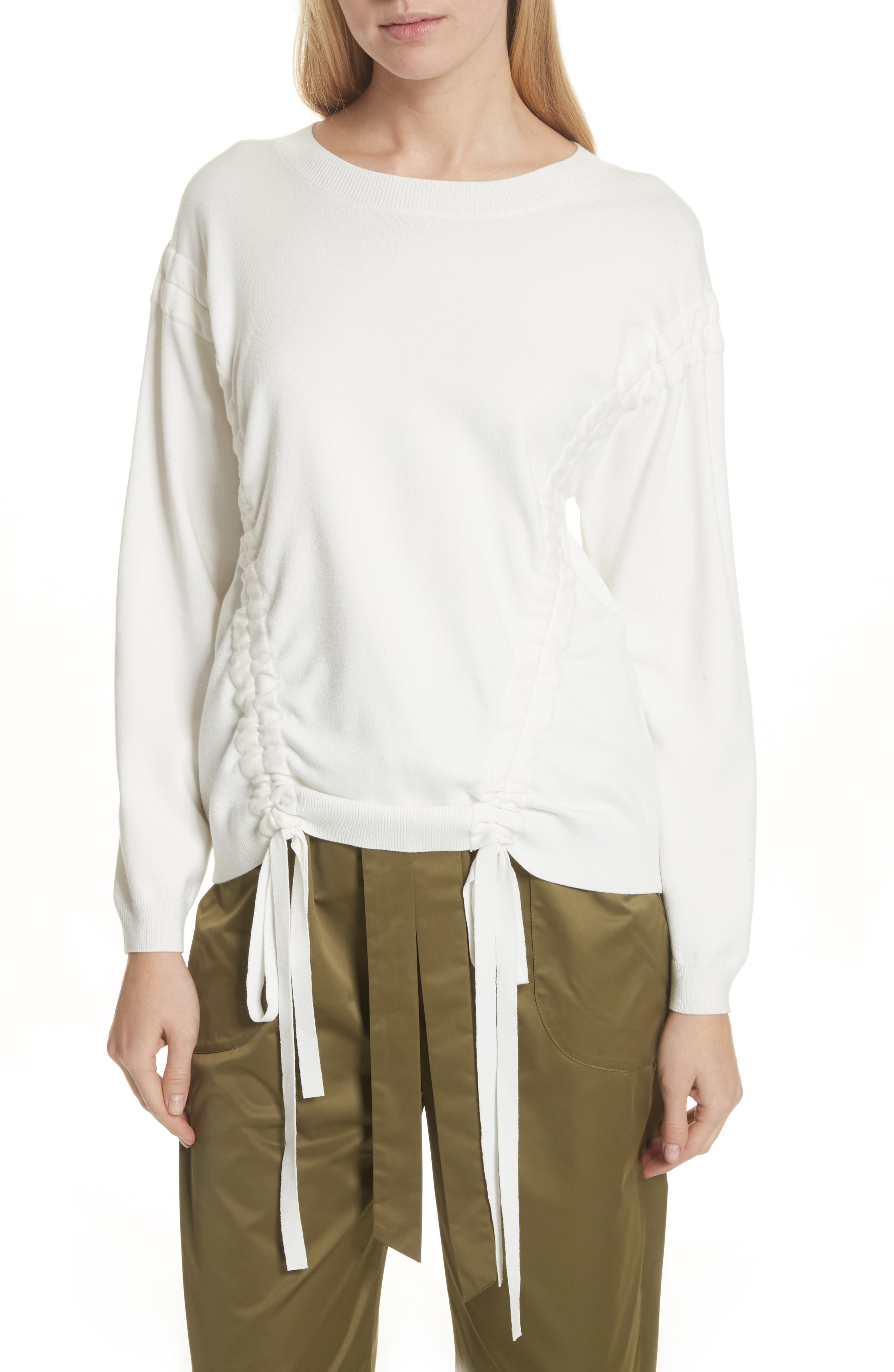 Tunneled Tie Sweatshirt,                         Main,                         color, White